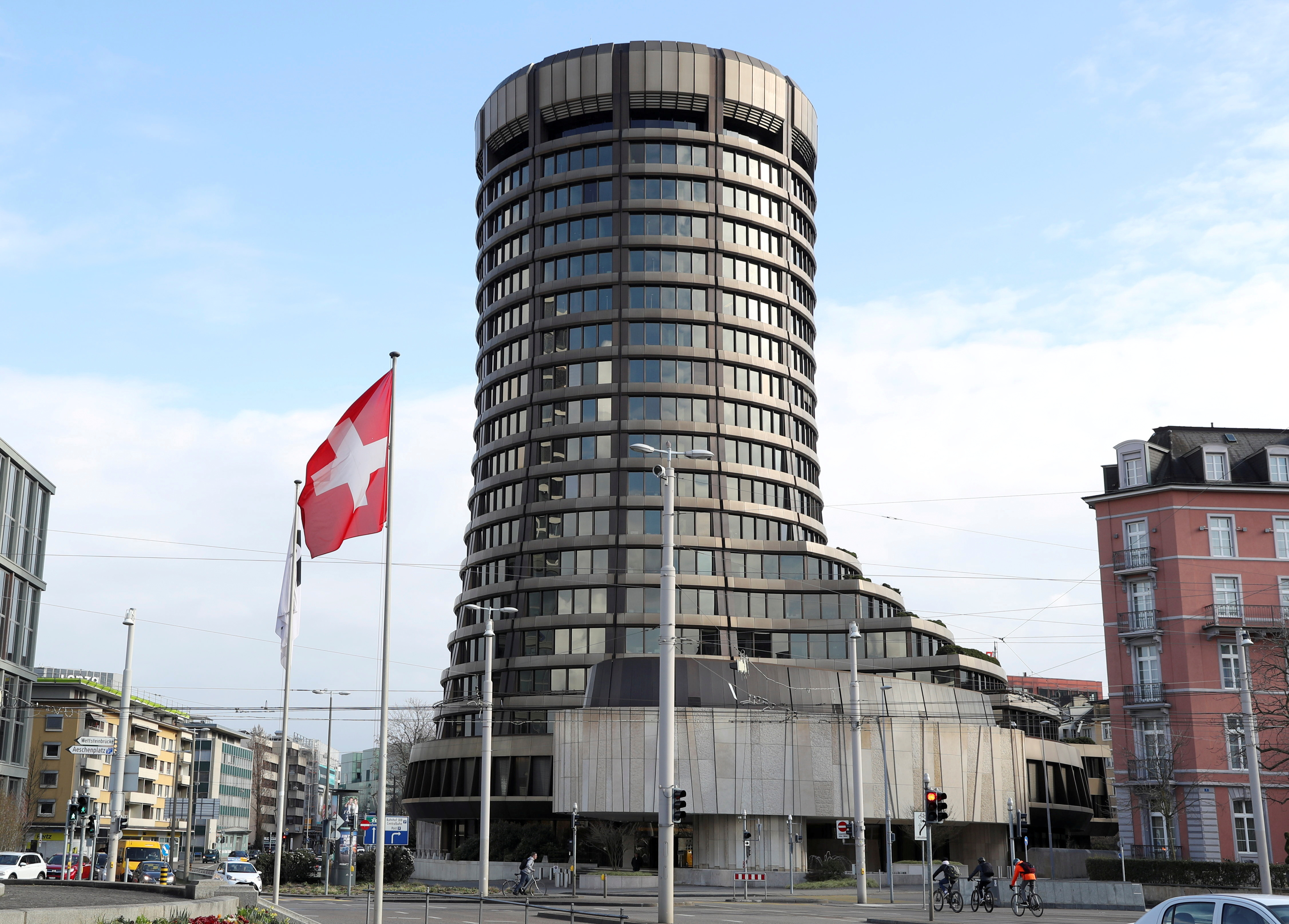 The tower of the headquarters of the Bank for International Settlements (BIS) is seen in Basel, Switzerland March 18, 2021. REUTERS/Arnd Wiegmann