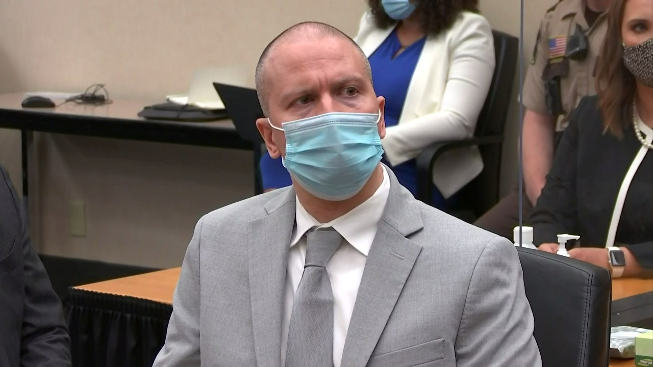 Former Minneapolis police officer Derek Chauvin listens to the judge announce his sentence of twenty two and a half years in prison for the murder of George Floyd during Chauvin's sentencing hearing in Minneapolis, Minnesota, U.S. June 25, 2021 in a still image from video. Pool via REUTERS