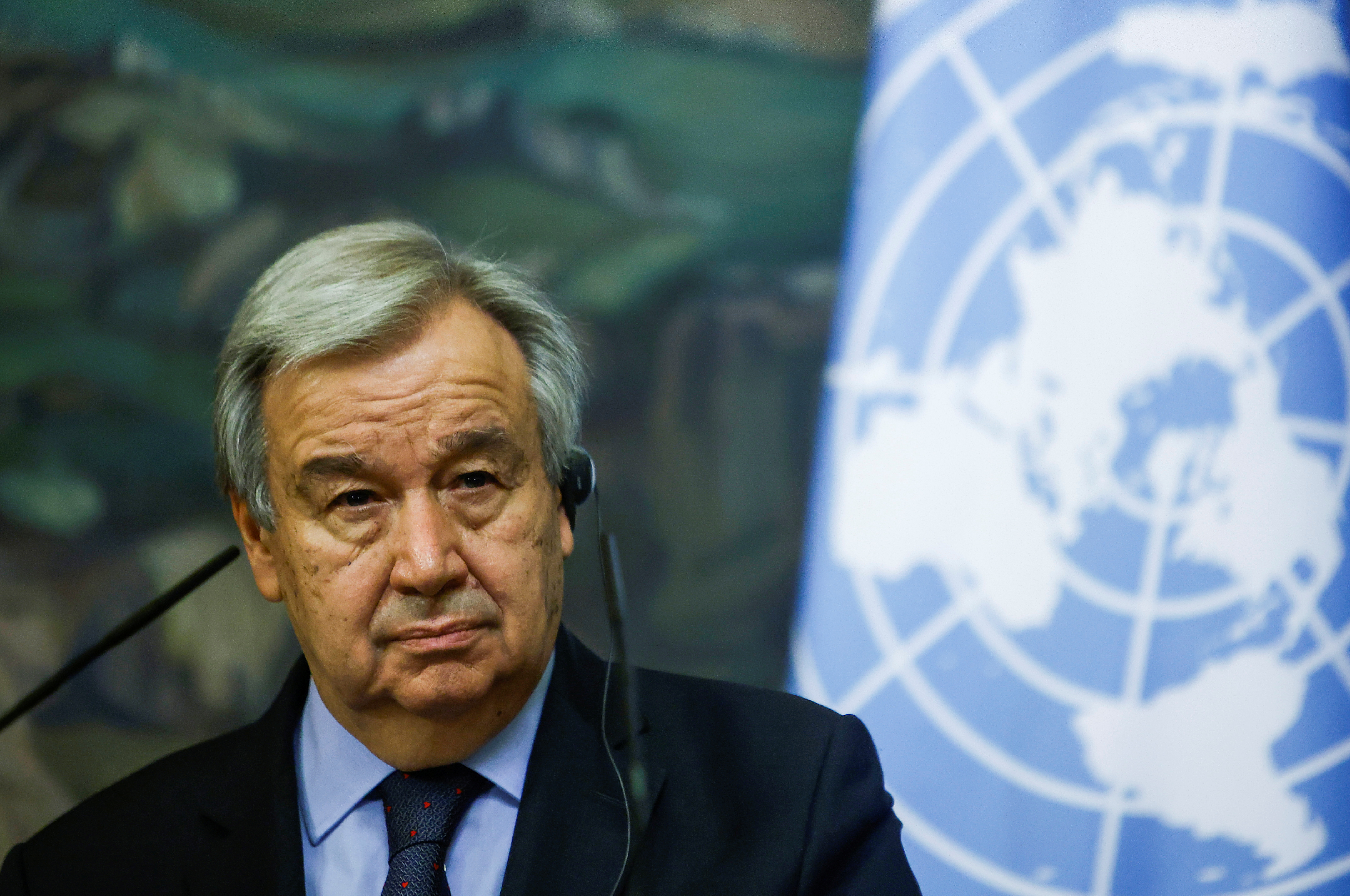 U.N. Secretary-General Antonio Guterres attends a news conference following talks with Russian Foreign Minister Sergei Lavrov in Moscow, Russia May 12, 2021. REUTERS/Maxim Shemetov