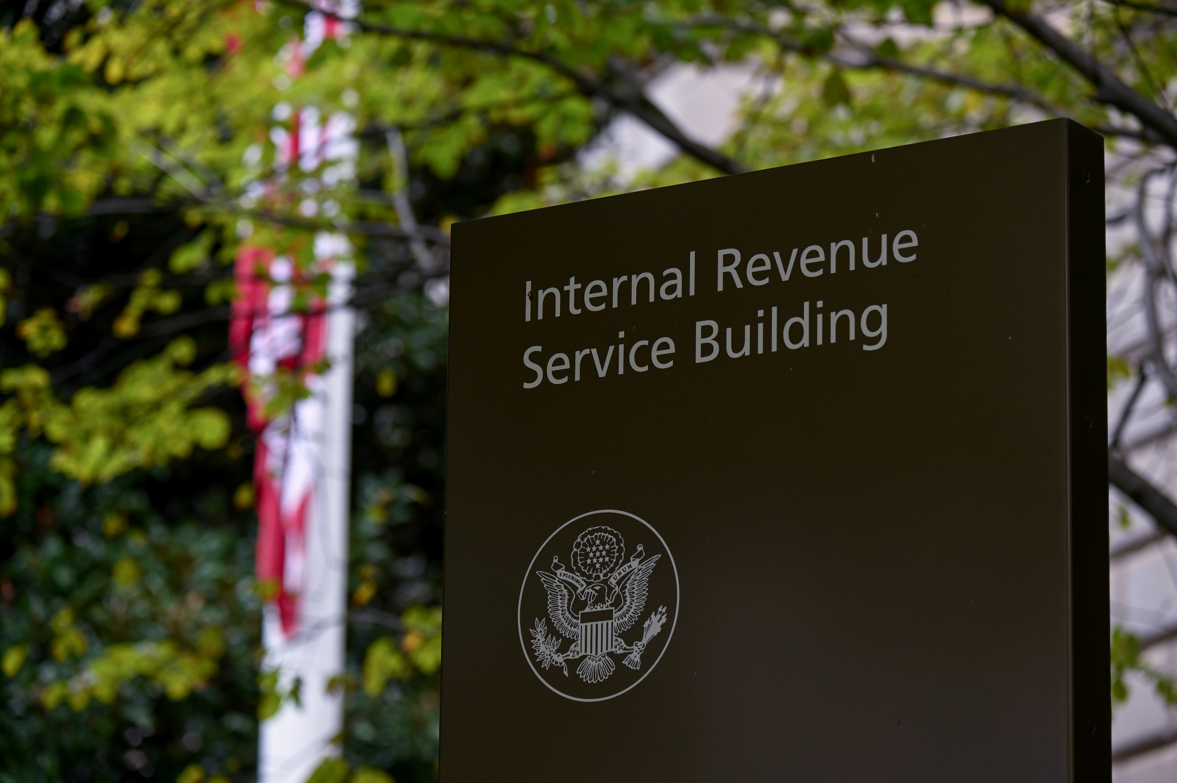 A sign for the Internal Revenue Service (IRS) building is seen in Washington, U.S. September 28, 2020. REUTERS/Erin Scott