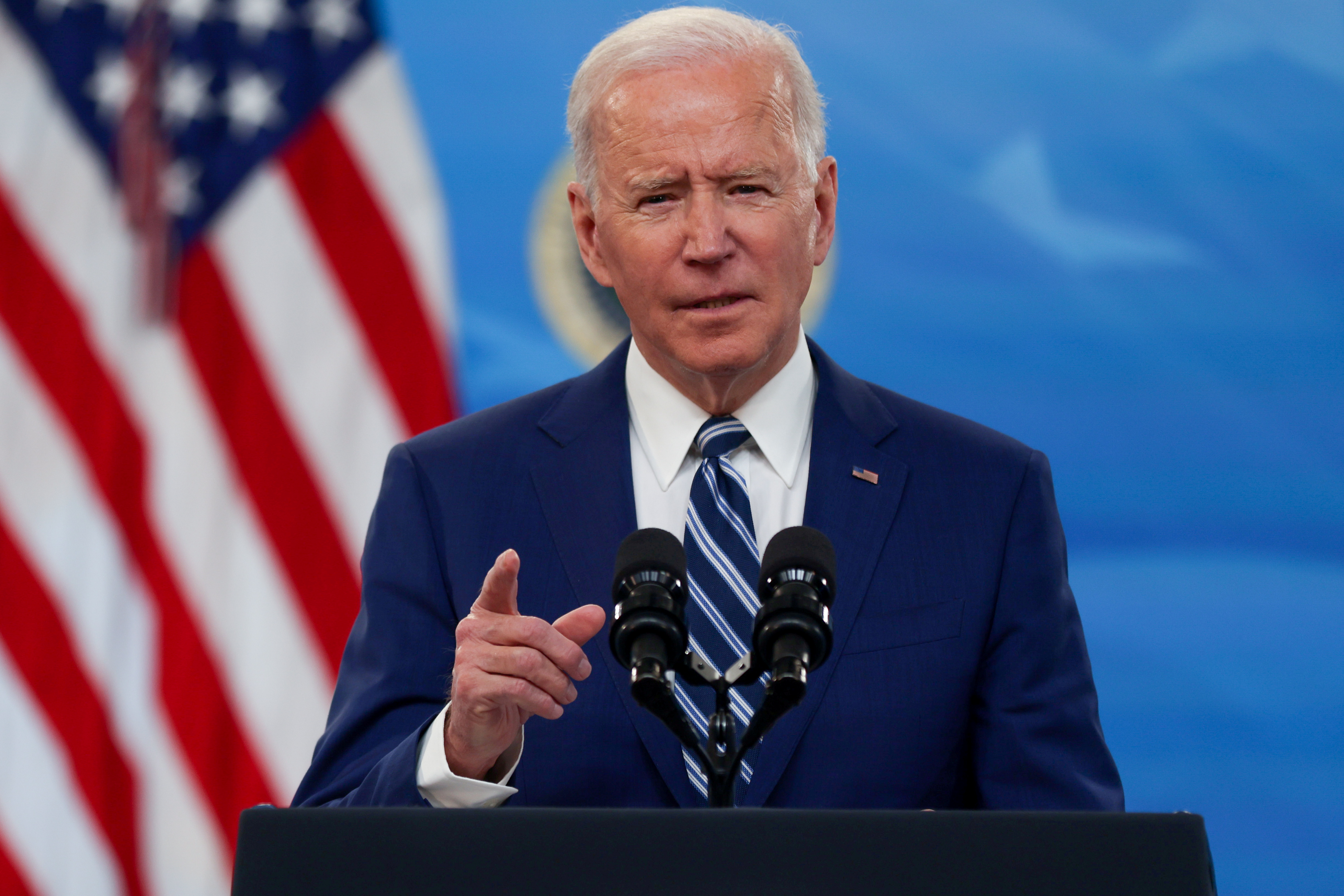 U.S. President Joe Biden delivers remarks after a meeting with his COVID-19 Response Team on the coronavirus disease (COVID-19) pandemic and the state of vaccinations, on the White House campus in Washington, U.S., March 29, 2021.  REUTERS/Jonathan Ernst/File Photo