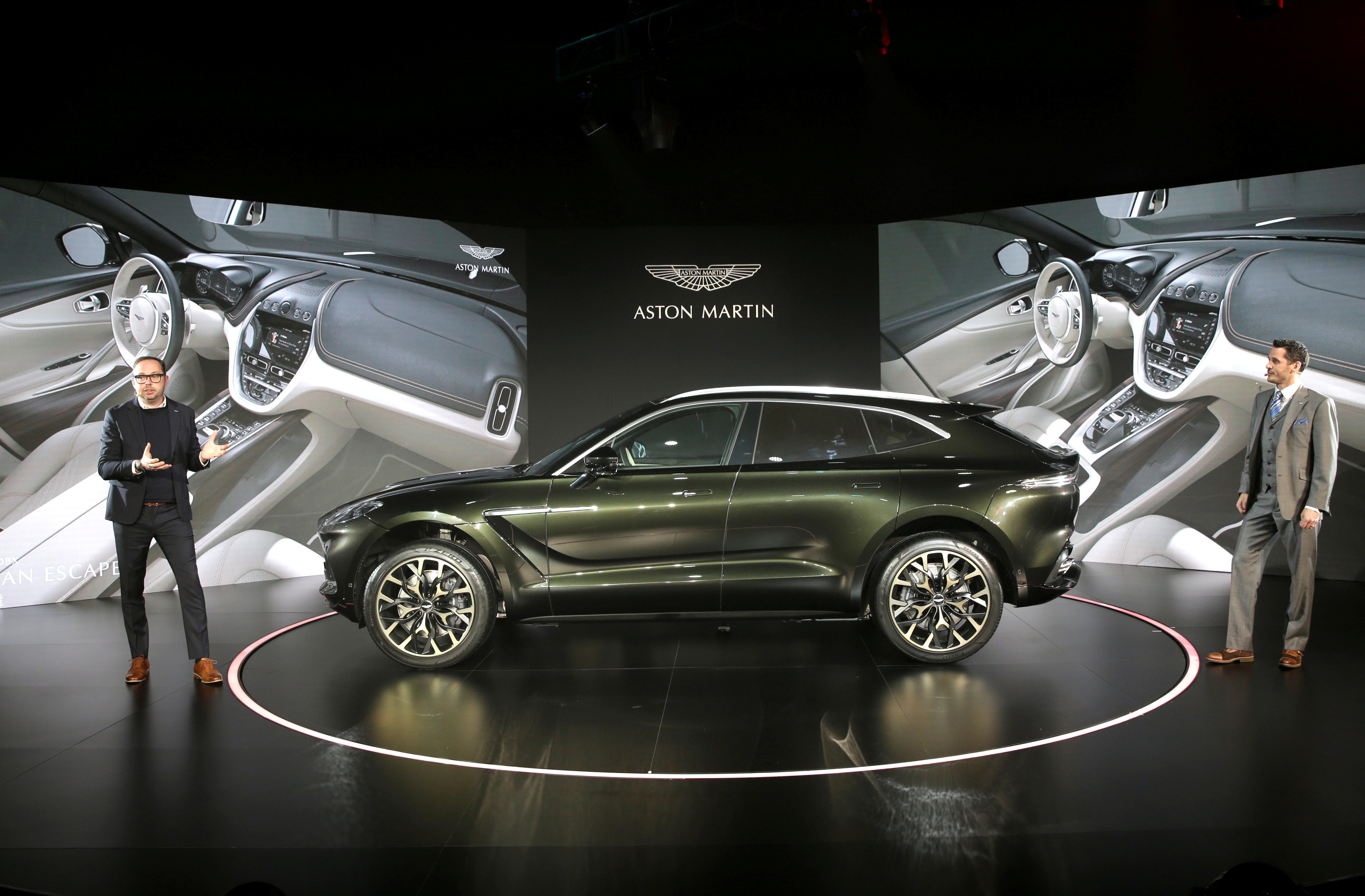 Aston Martin DBX, the company's first sport utility vehicle, is displayed at its global launch ceremony in Beijing, China November 20, 2019. REUTERS/Jason Lee/File Photo