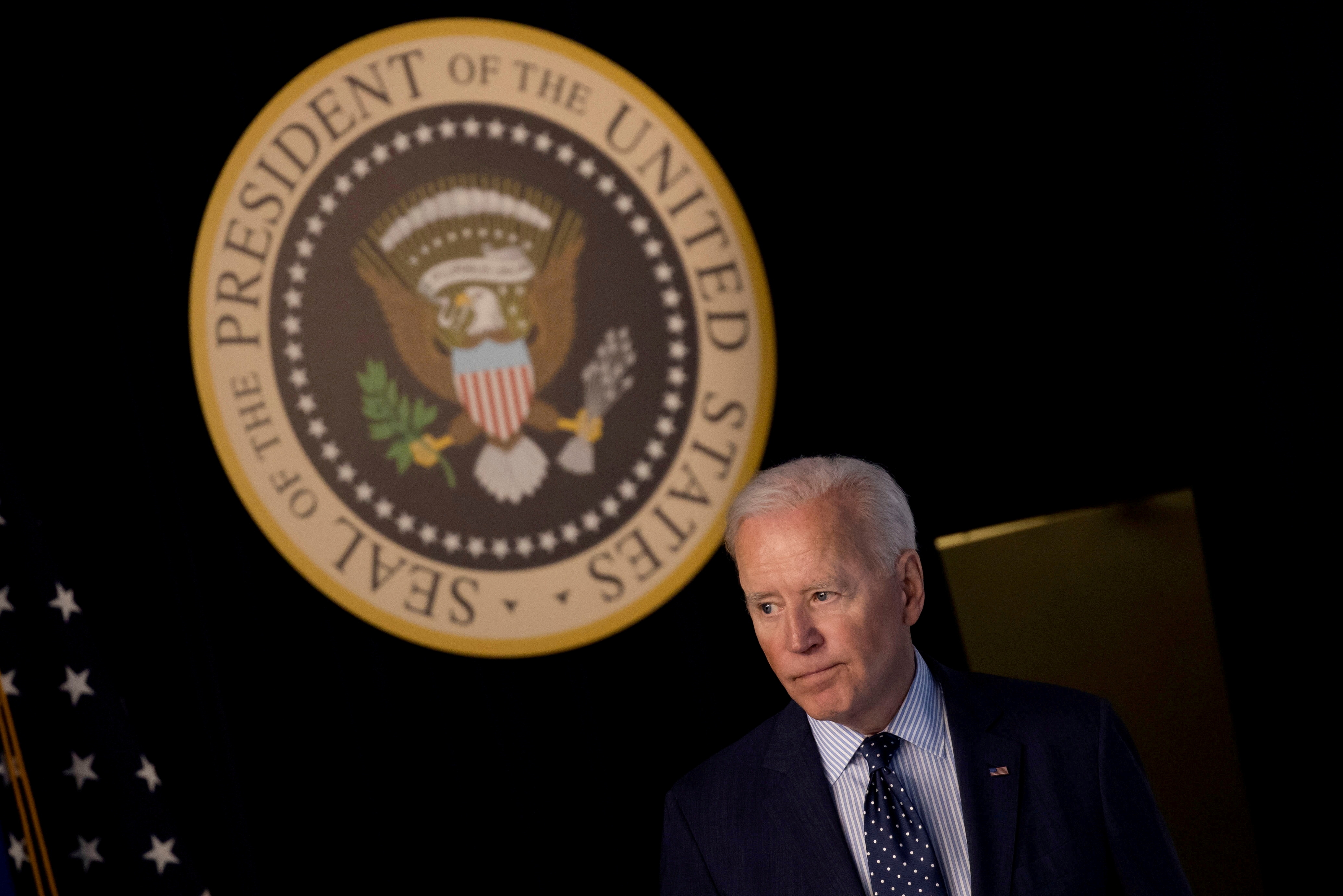 U.S. President  Joe Biden departs after delivering an update on his administration's coronavirus disease (COVID-19) response in the Eisenhower Executive Office Building's South Court Auditorium at the White House in Washington, U.S., June 2, 2021. REUTERS/Carlos Barria