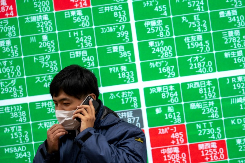 A man wearing a protective face mask, following an outbreak of the coronavirus, talks on his mobile phone in front of a screen showing the Nikkei index outside a brokerage in Tokyo, Japan, February 26, 2020. REUTERS/Athit Perawongmetha/File Photo