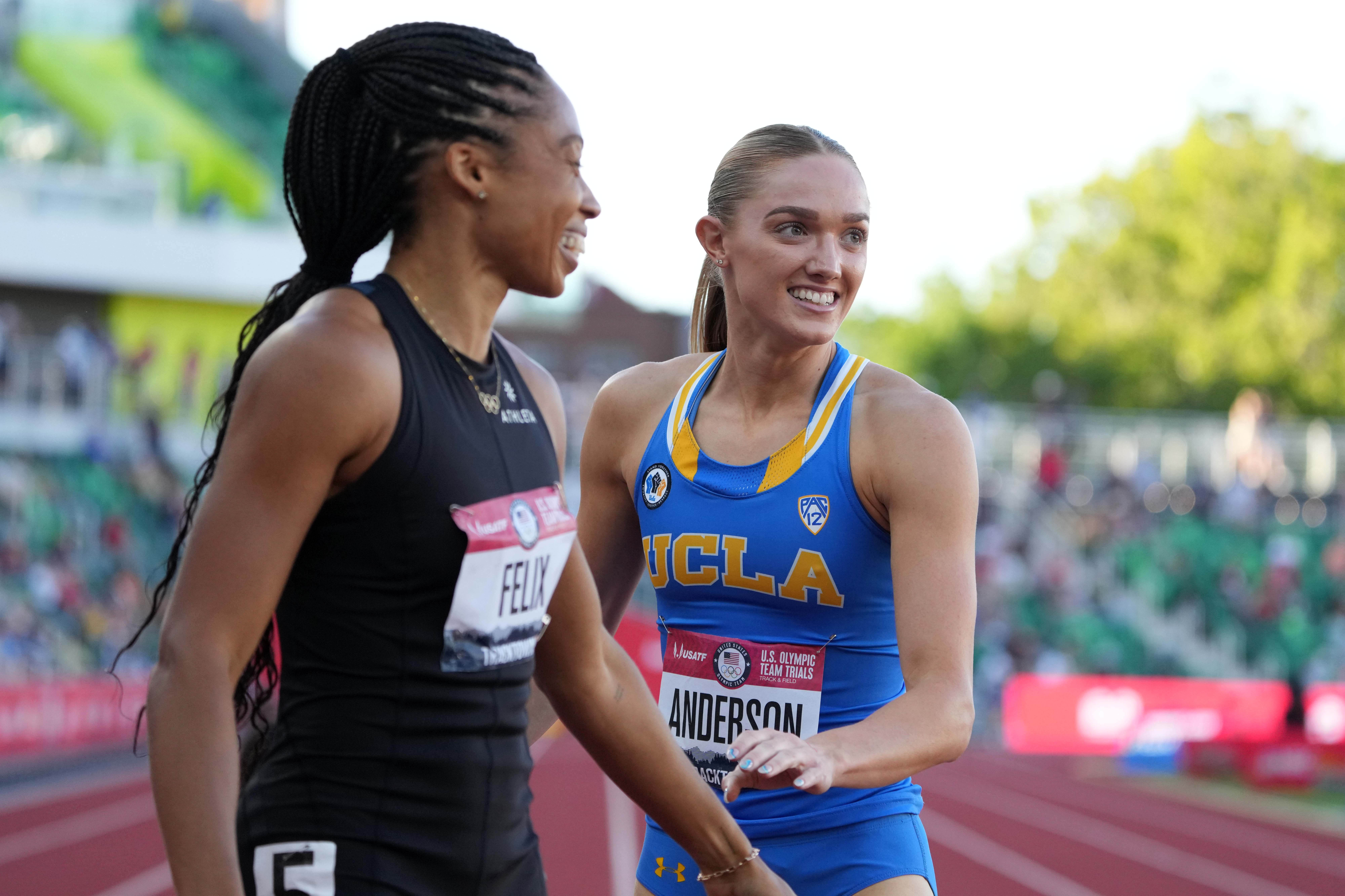 Jun 19, 2021; Eugene, OR, USA; Shae Anderson of UCLA (right) and Allyson Felix react after a women's 400m semifinal eduring the US Olympic Team Trials at Hayward Field. Mandatory Credit: Kirby Lee-USA TODAY Sports