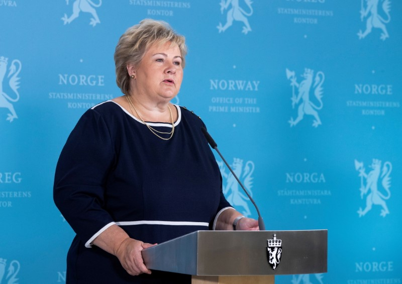 Norway's Prime Minister Erna Solberg speaks during a news conference about the coronavirus disease (COVID-19), in Oslo, Norway September 3, 2020. Berit Roald/NTB Scanpix/via REUTERS