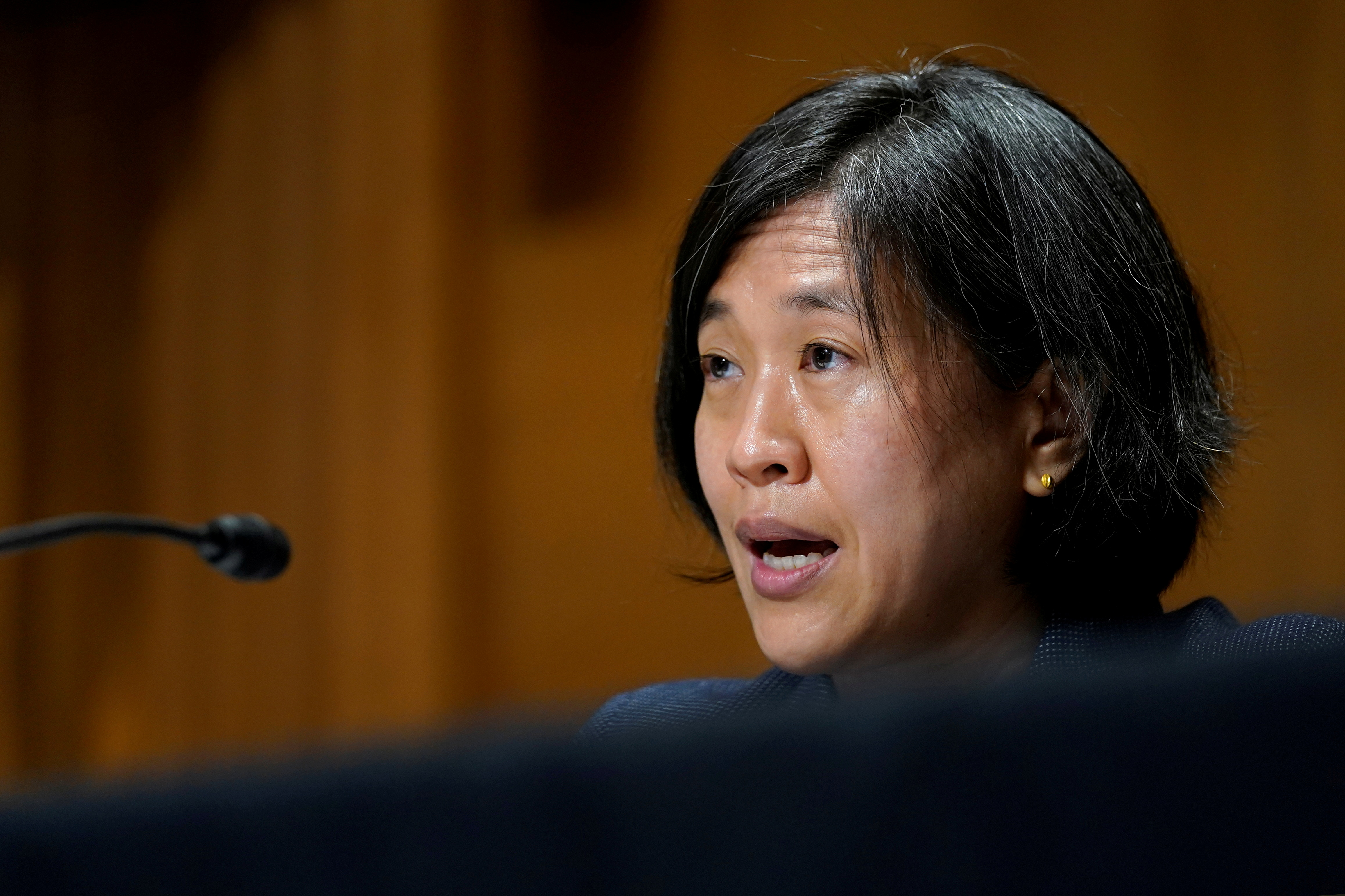 U.S. Trade Representative Katherine Tai testifies before the Senate Finance Committee on Capitol Hill in Washington, U.S., May 12, 2021.  Susan Walsh/Pool via REUTERS/File Photo