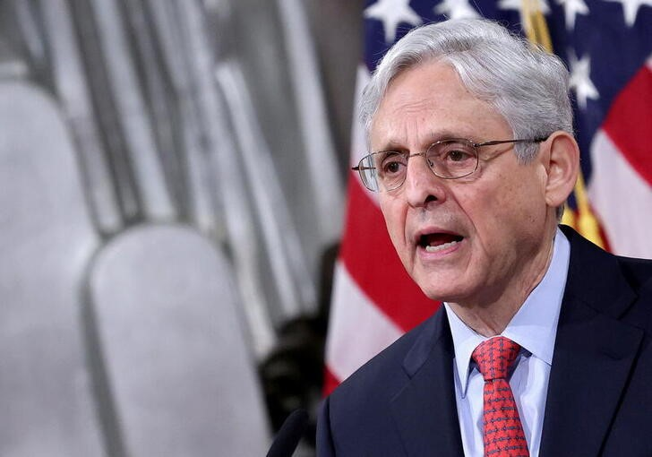 U.S. Attorney General Merrick Garland speaks during an event at the Justice Department in Washington.  Win McNamee/Pool via REUTERS.