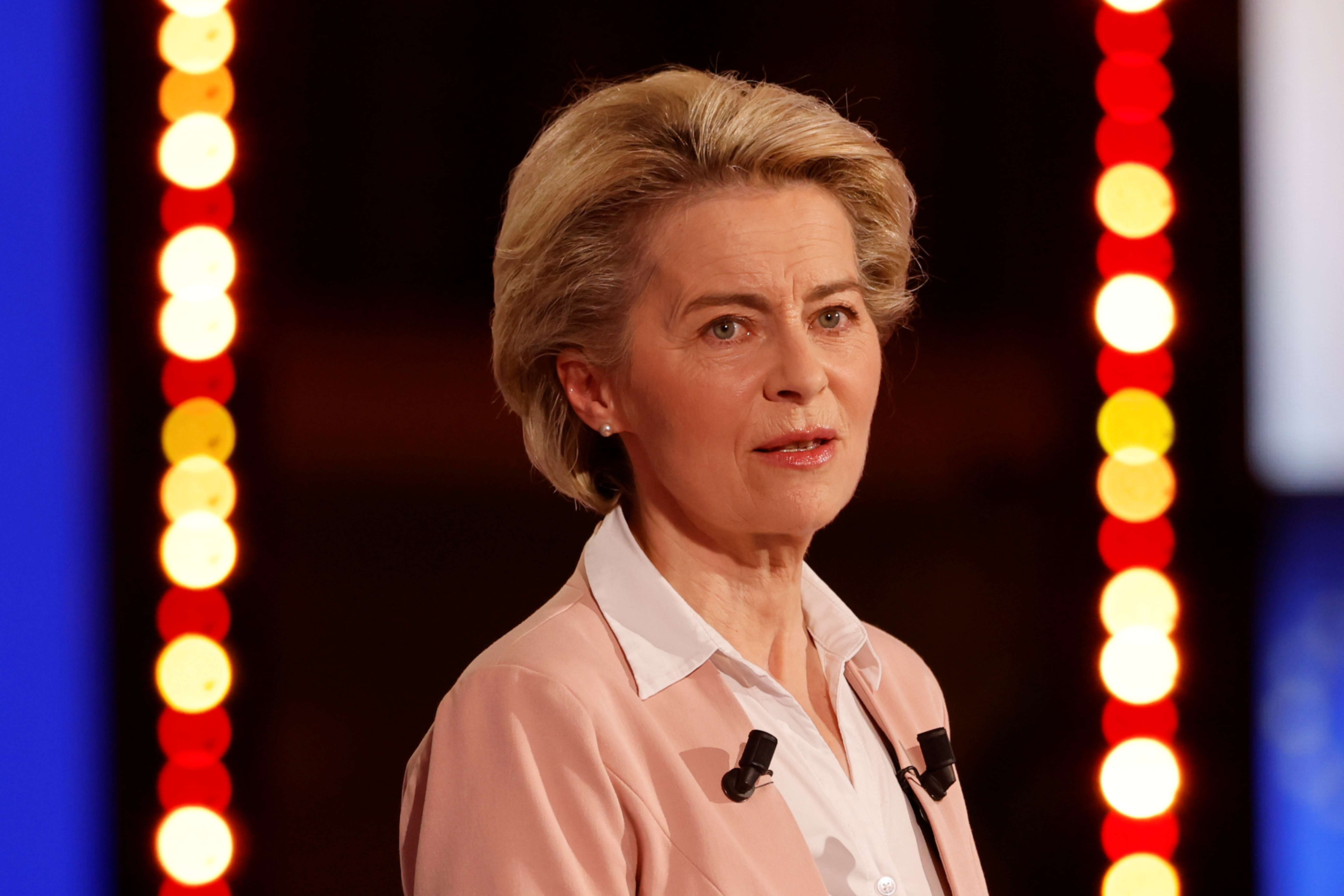 European Commission President Ursula von der Leyen delivers her speech during the Future of Europe conference at the European Parliament in Strasbourg, France, May 9, 2021. Jean-Francois Badias/Pool via REUTERS