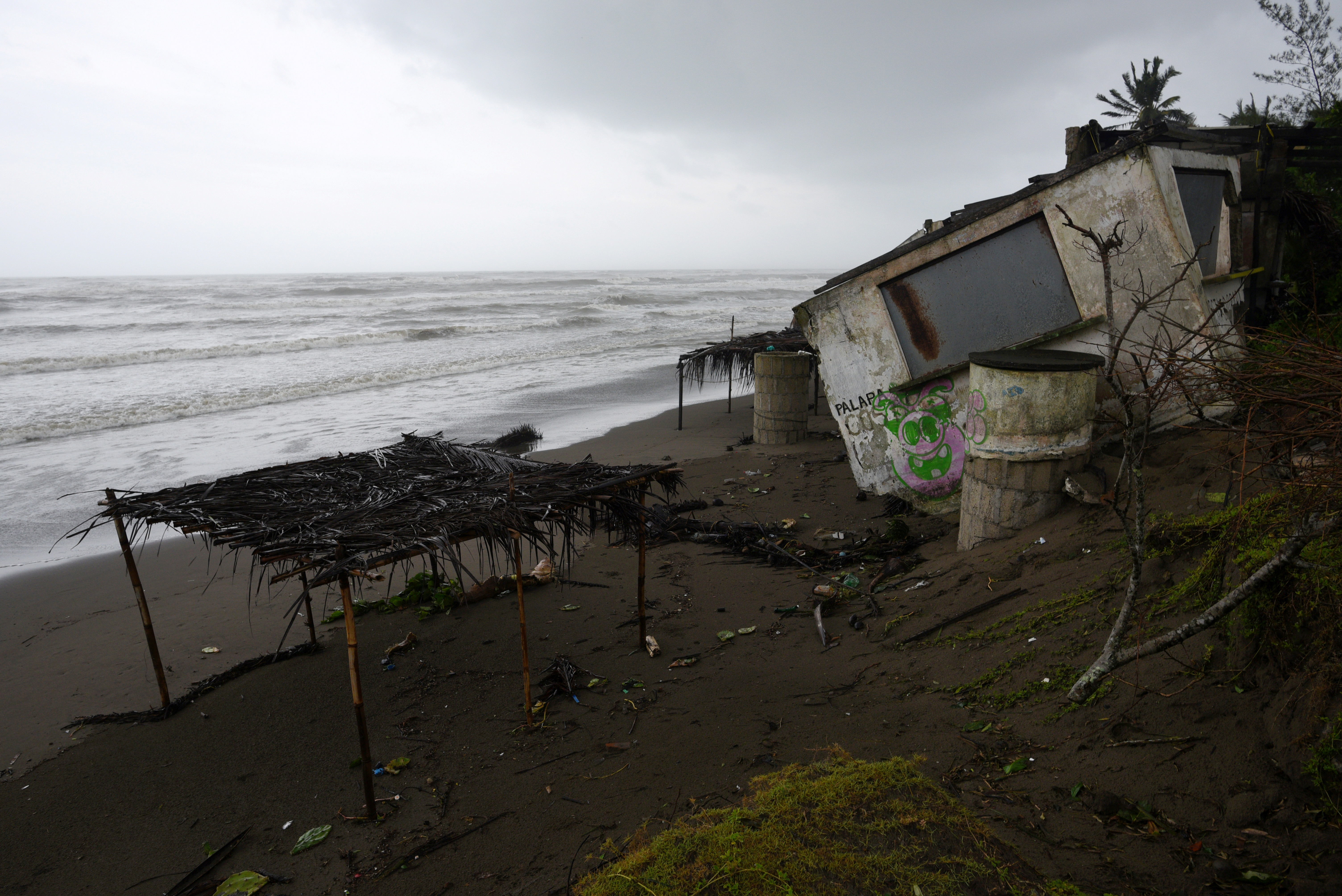 A snack bar which was destroyed when Hurricane Grace slammed into the coast with torrential rains, is seen on the beach, in Costa Esmeralda, near Tecolutla, Mexico August 21, 2021.    REUTERS/Yahir Ceballos