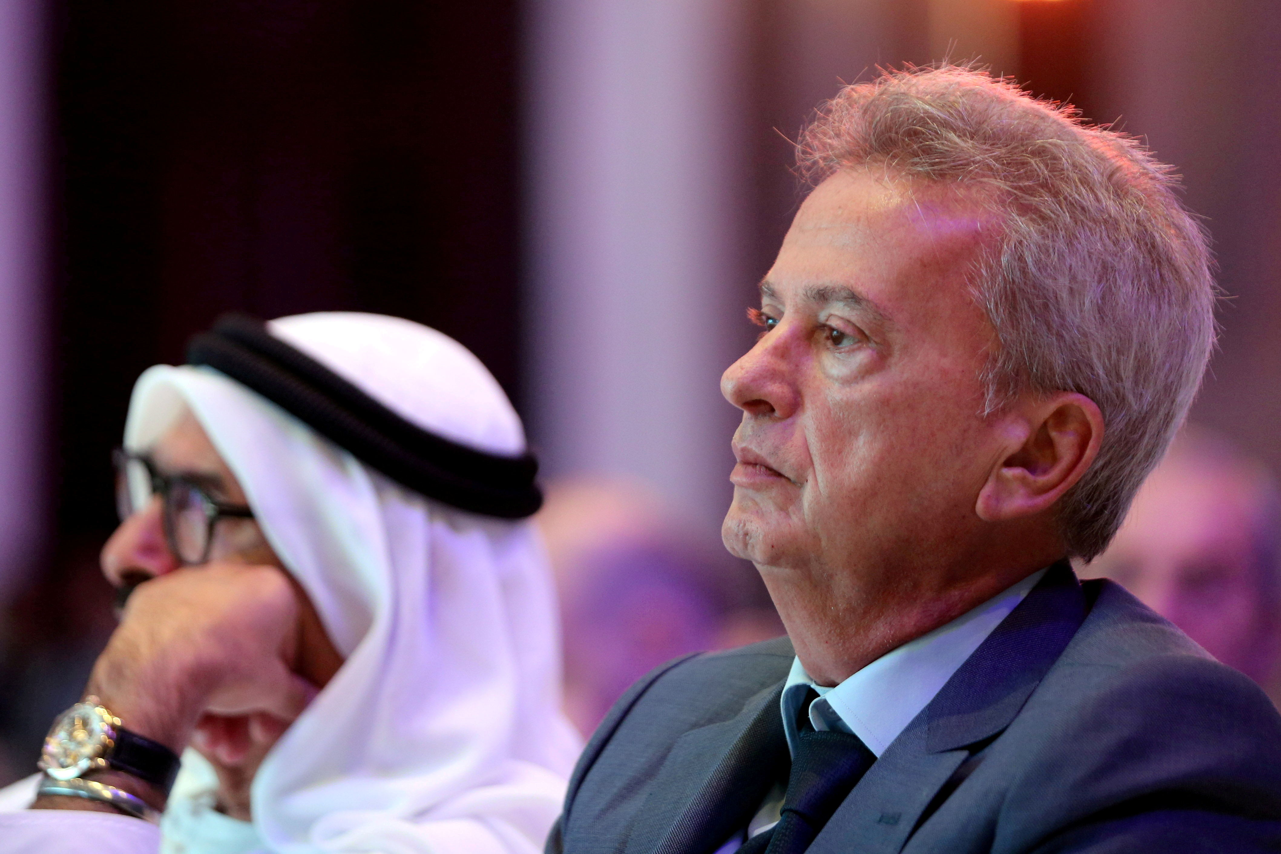 Riad Salameh, Governor of the Central Bank of Lebanon, attends the UAE-Lebanon Investment Forum in Abu Dhabi, UAE, October 7, 2019. REUTERS/Satish Kumar/File Photo