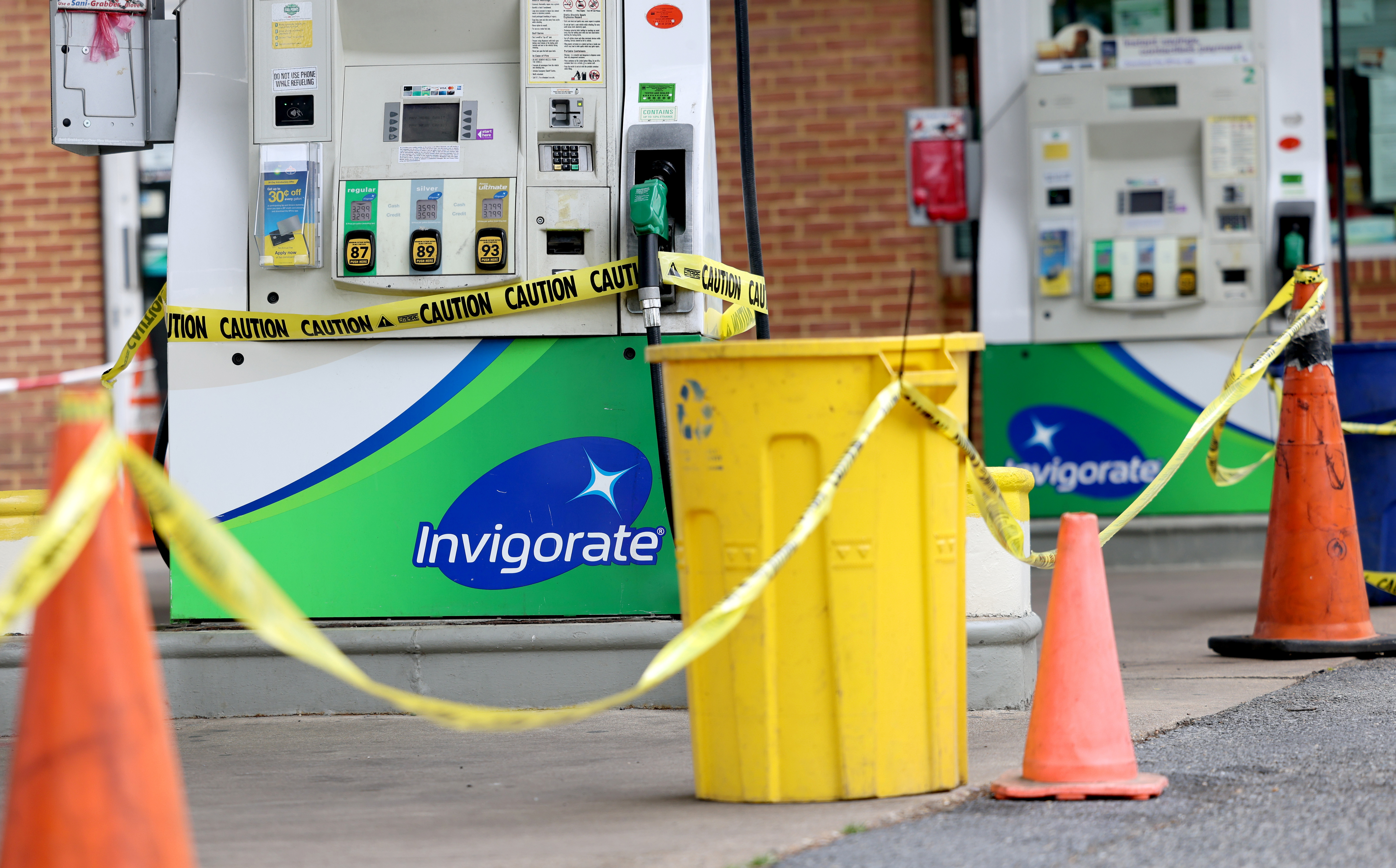 Gas pumps are roped off  with a tape indicating a lack of gasoline at a gas station in Washington, U.S., May 14, 2021. REUTERS/Evelyn Hockstein