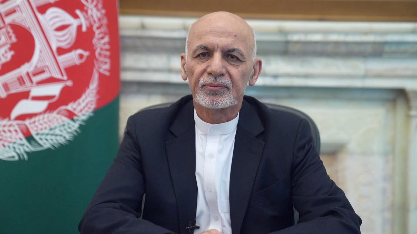 Afghanistan's President Ashraf Ghani addresses the nation in a message in Kabul, Afghanistan August 14, 2021. Afghan Presidential Palace/Handout via REUTERS