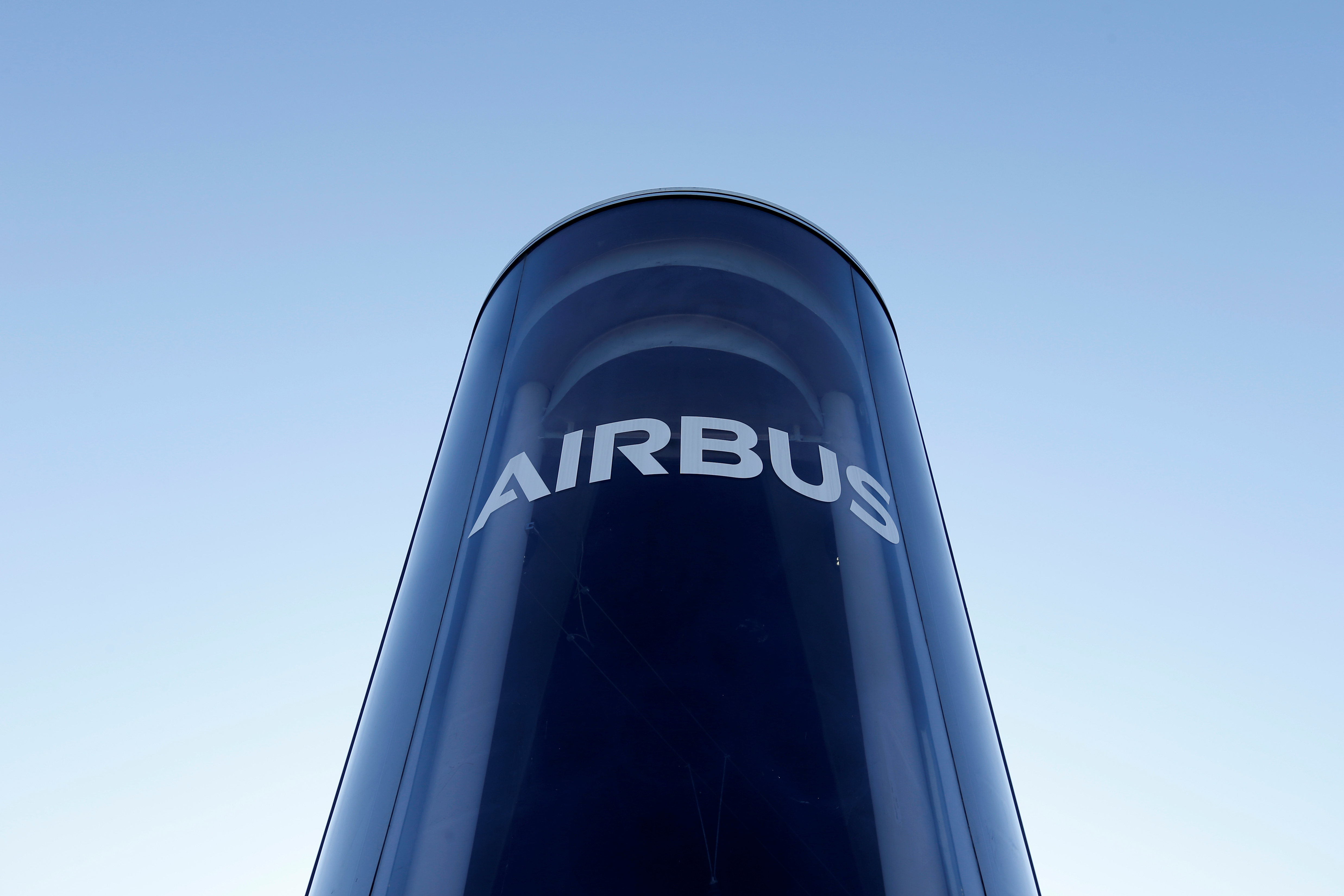 The Airbus logo is pictured at Airbus headquarters in Blagnac near Toulouse, France, March 20, 2019.   REUTERS/Regis Duvignau