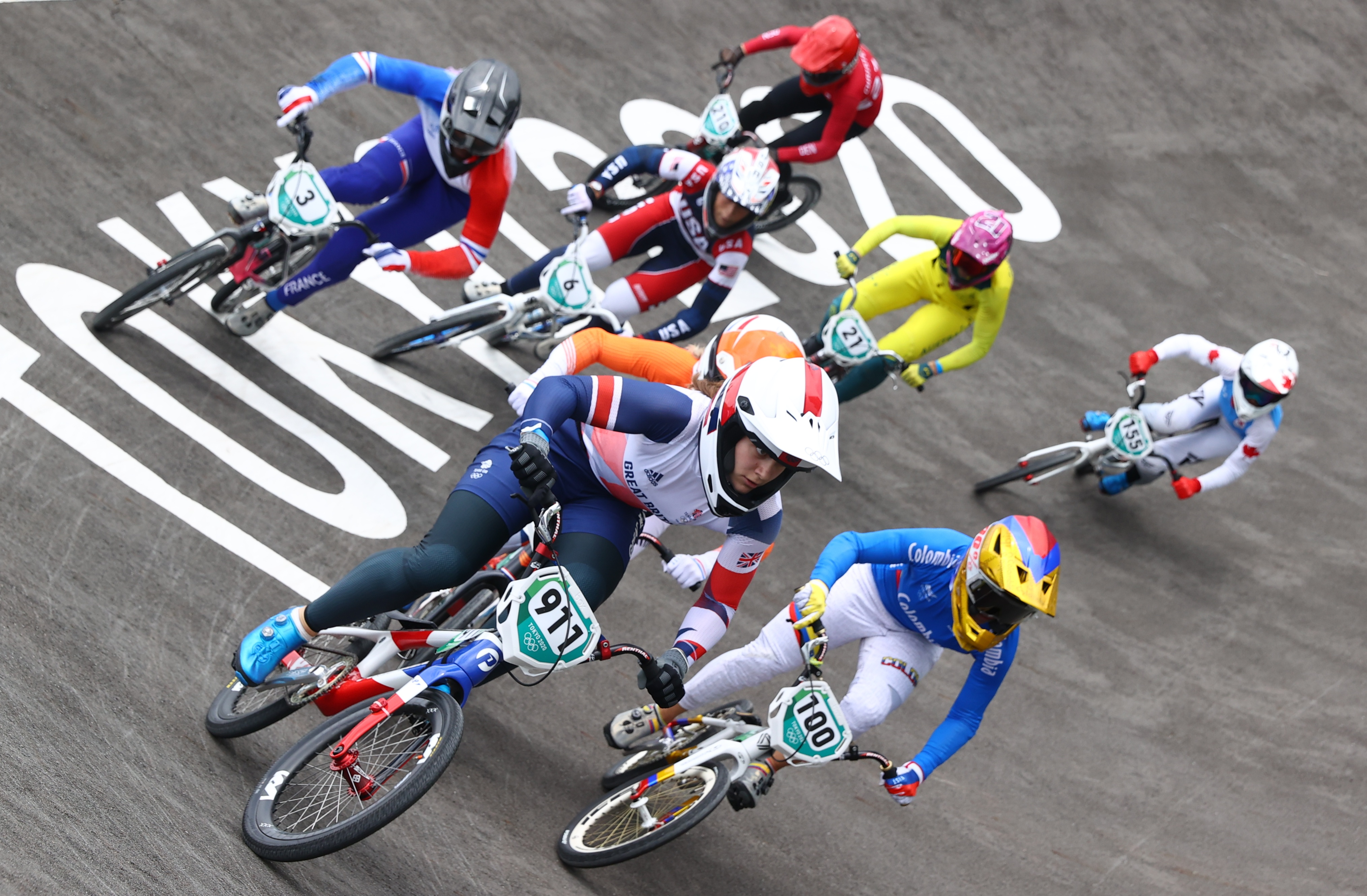 Tokyo 2020 Olympics - BMX Racing - Women's Individual - Final - AUP - Ariake Urban Sports Park, Tokyo, Japan - July 30, 2021.  Bethany Shriever of Britain and Mariana Pajon of Colombia in action. REUTERS/Matthew Childs