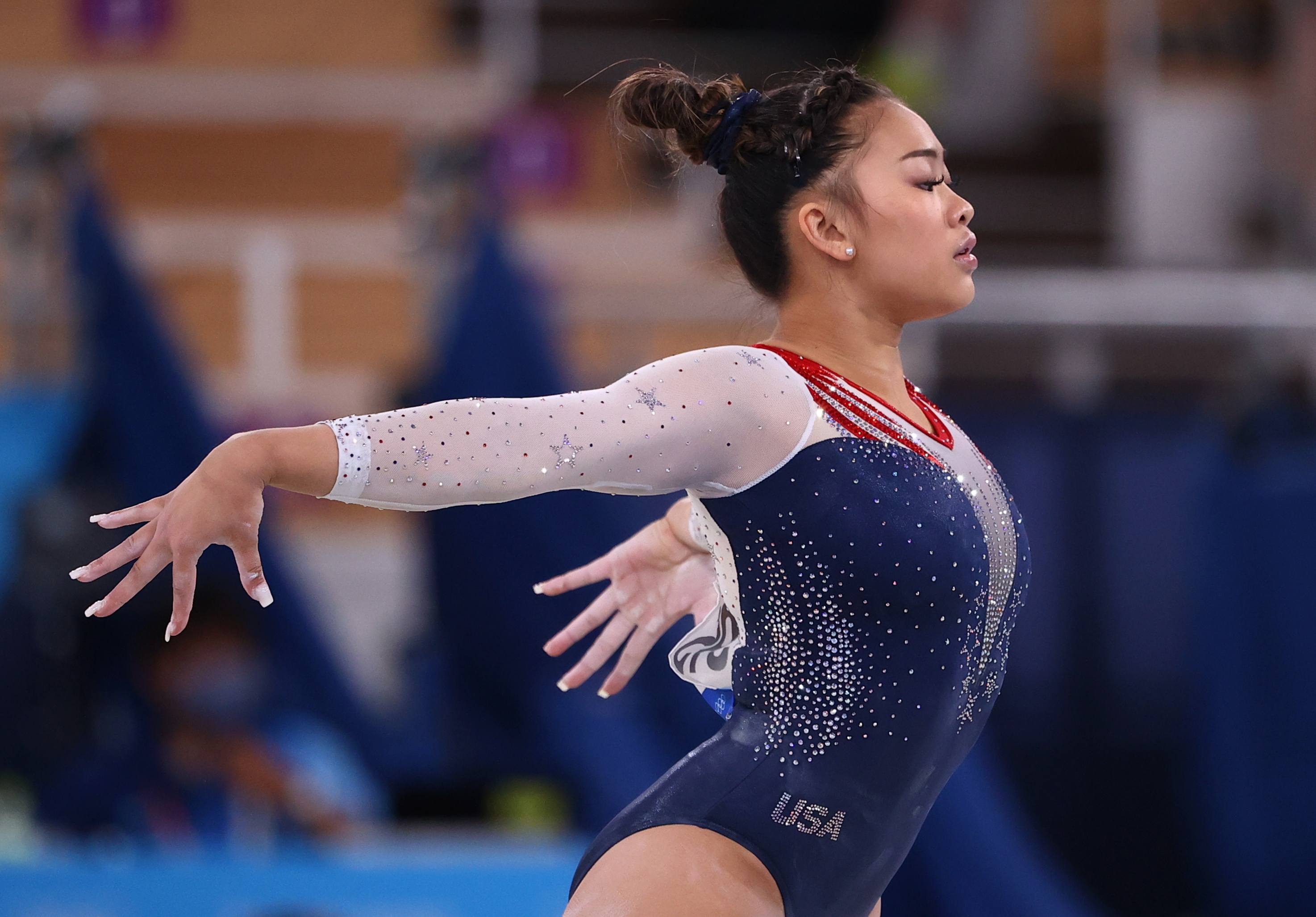 Tokyo 2020 Olympics - Gymnastics - Artistic - Women's Individual All-Around - Final - Ariake Gymnastics Centre, Tokyo, Japan - July 29, 2021.  Sunisa Lee of the United States in action during the floor exercise. REUTERS/Lindsey Wasson