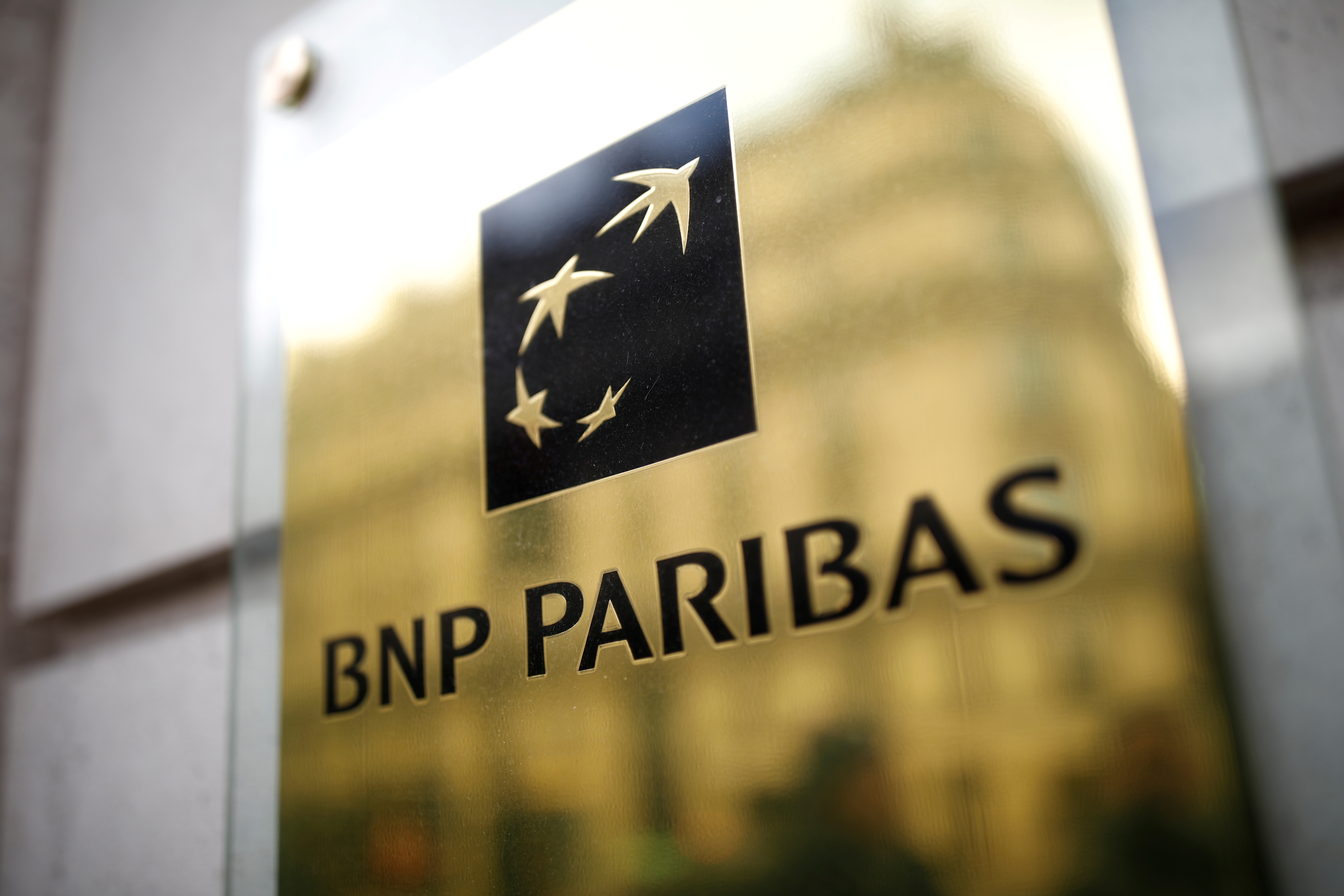The BNP Paribas logo is seen at a branch in Paris, France, February 4, 2020. REUTERS/Benoit Tessier/File Photo