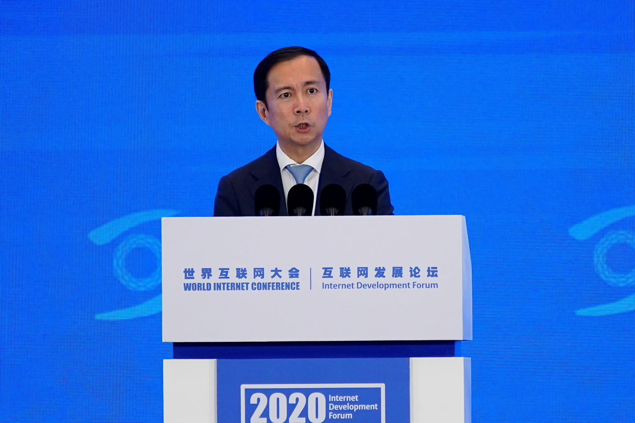 Alibaba Group CEO Daniel Zhang (Zhang Yong) speaks at the World Internet Conference (WIC) in Wuzhen, Zhejiang province, China, November 23, 2020. REUTERS/Aly Song/File Photo