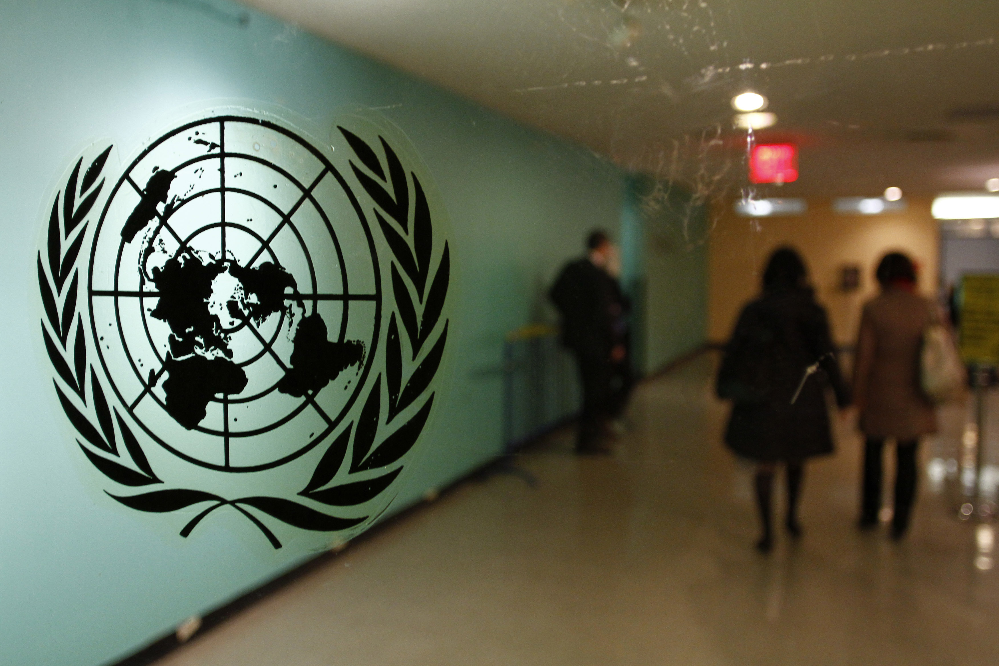 The United Nations logo is displayed on a door at U.N. headquarters in New York , file.  REUTERS/ Joshua Lott