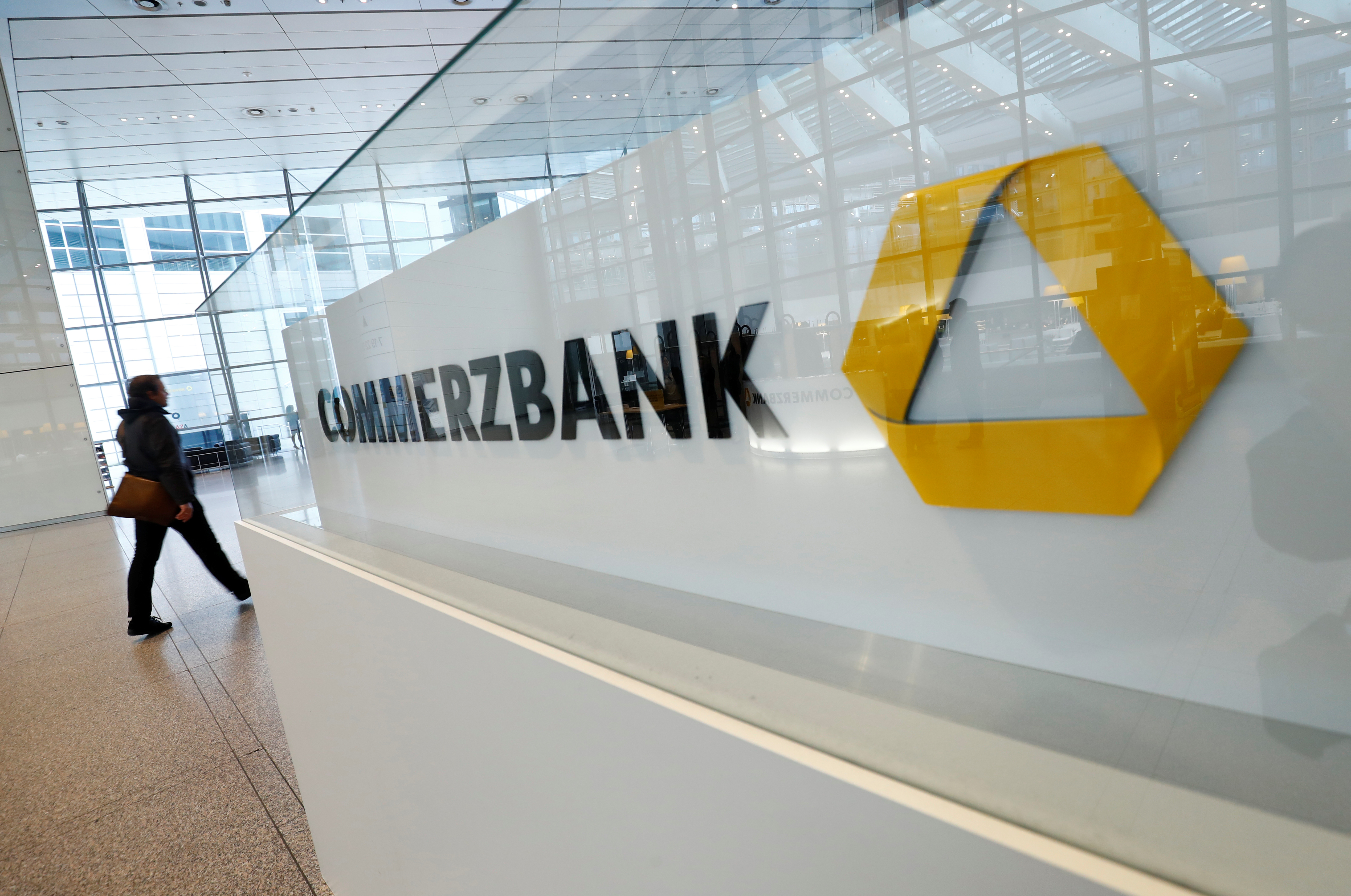 A company logo is pictured at the headquarters of Germany's Commerzbank AG during the annual results news conference in Frankfurt, Germany, February 13, 2020.  REUTERS/Ralph Orlowski