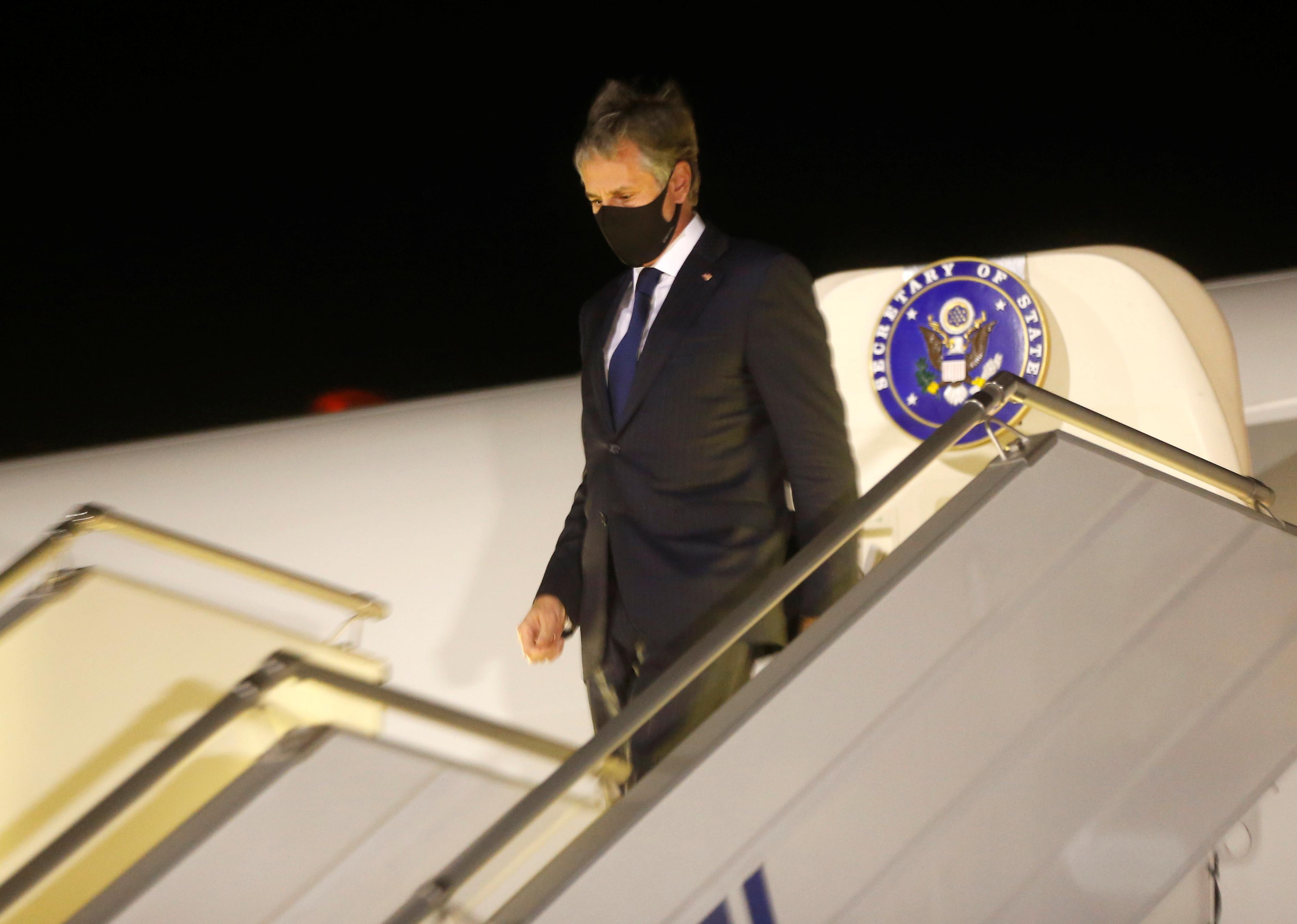 U.S. Secretary of State Antony Blinken disembarks after landing at Boryspil International airport outside Kyiv, Ukraine May 6, 2021. Efrem Lukatsky/Pool via REUTERS