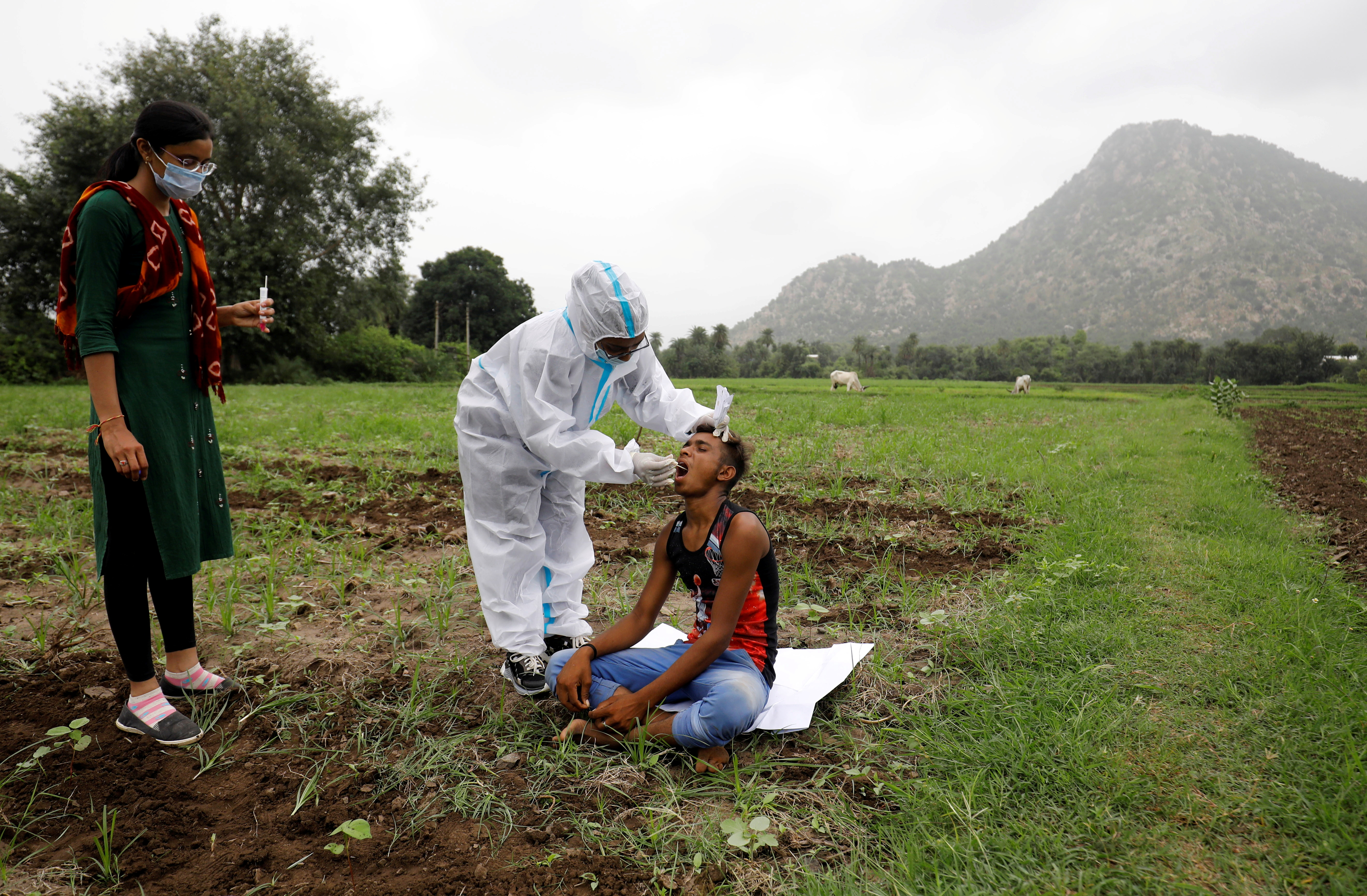 Healthcare worker Hemaben Raval collects a swab for a rapid antigen test from farmer Vinod Vajabhai Dabhi in his field, during a door-to-door vaccination drive amid the ongoing coronavirus disease (COVID-19) outbreak in Banaskantha district in the western state of Gujarat, India, July 23, 2021. REUTERS/Amit Dave/File Photo