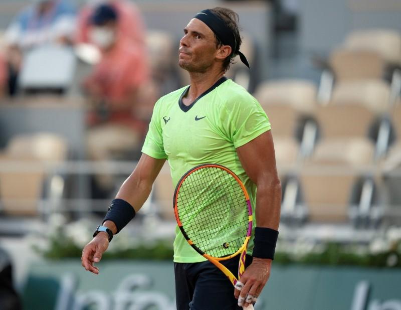 Jun 11, 2021; Paris, France; Rafael Nadal (ESP) reacts during his semifinal match against Novak Djokovic (SRB) on day 13 of the French Open at Stade Roland Garros. Mandatory Credit: Susan Mullane-USA TODAY Sports/File Photo