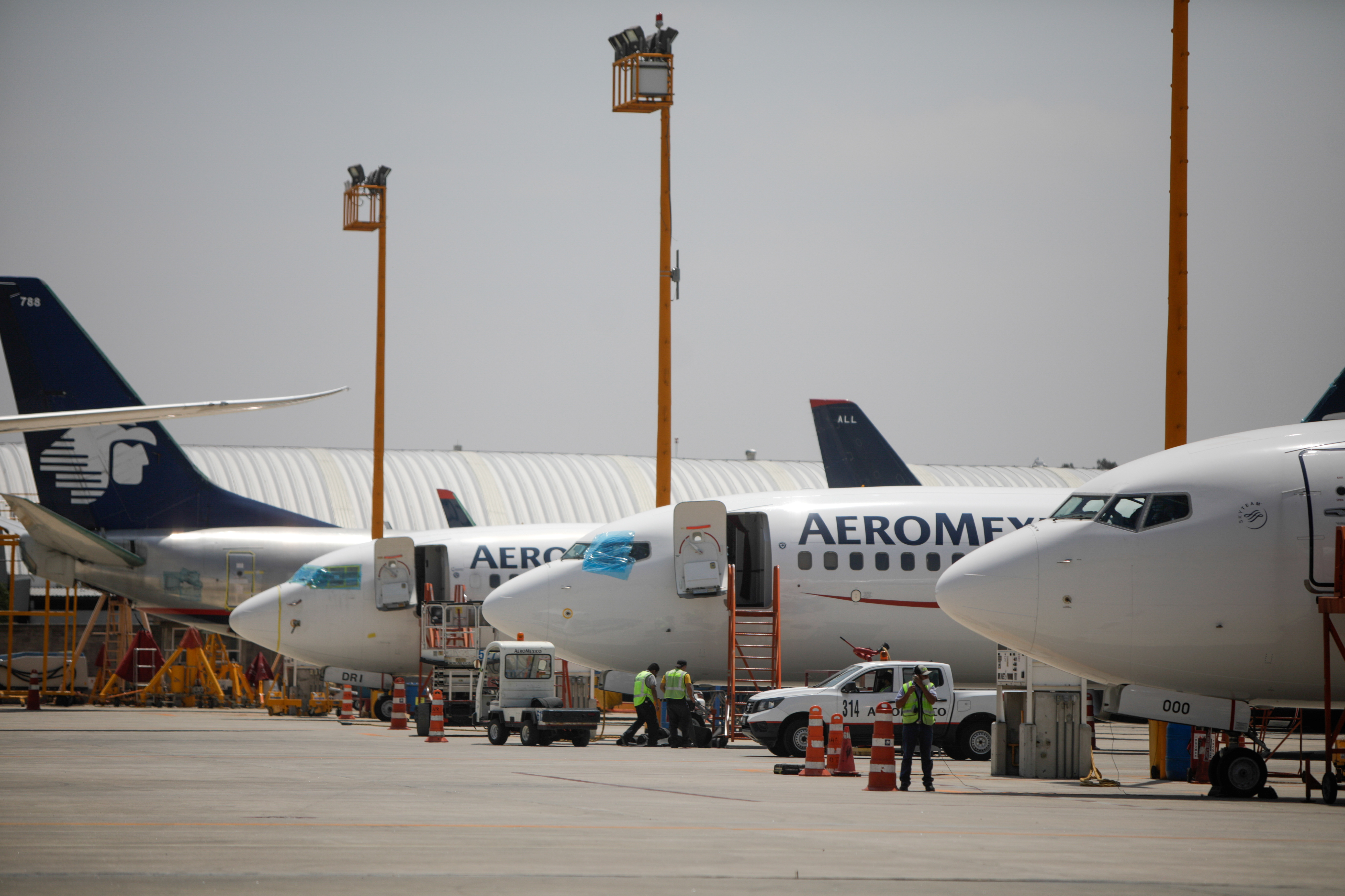 Aeromexico airplanes are pictured at the Benito Juarez International airport, in Mexico City, Mexico, July 14, 2021.  REUTERS/Luis Cortes