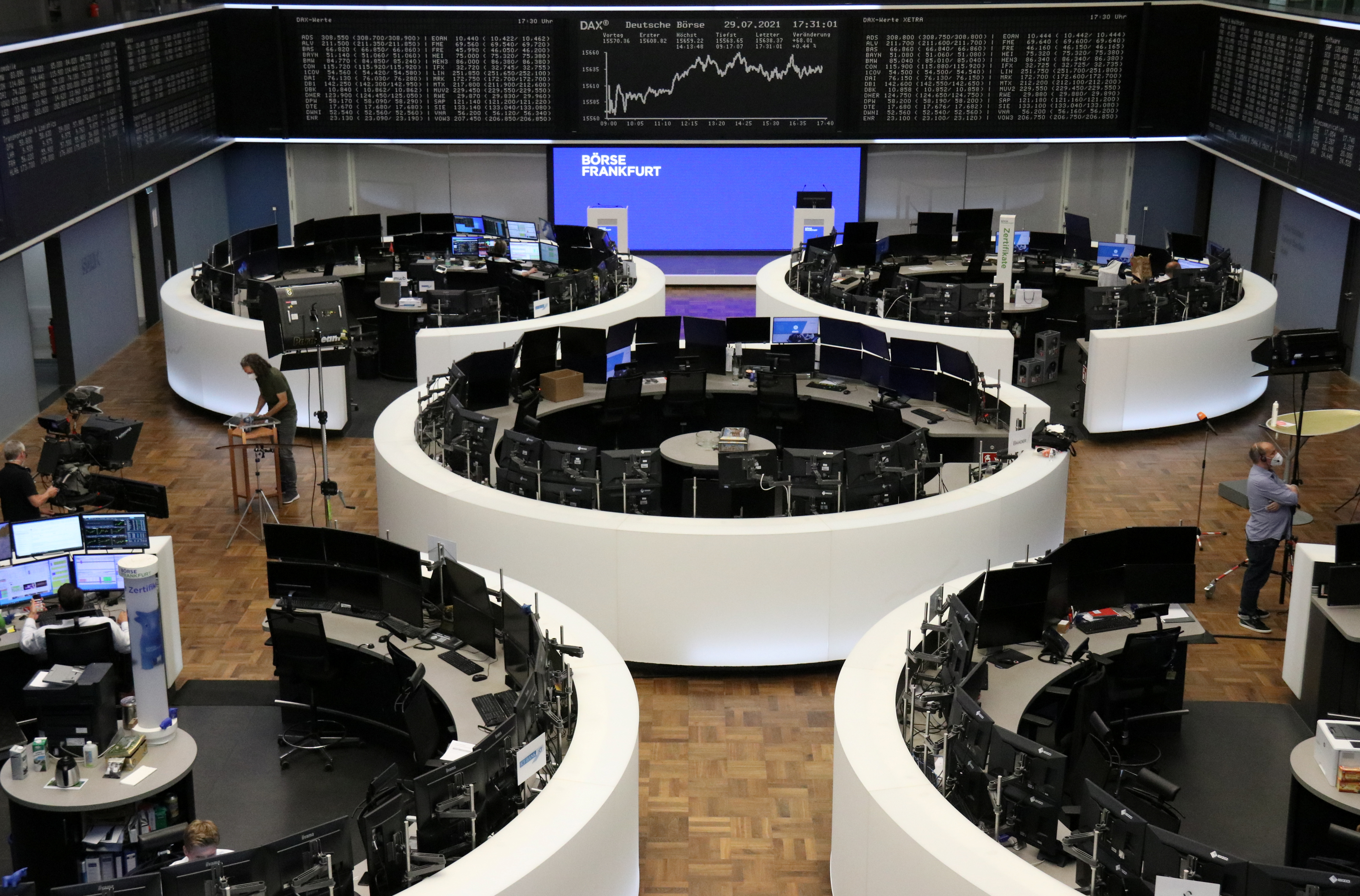 The German share price index DAX graph is pictured at the stock exchange in Frankfurt, Germany, July 29, 2021. REUTERS/Staff/File photo