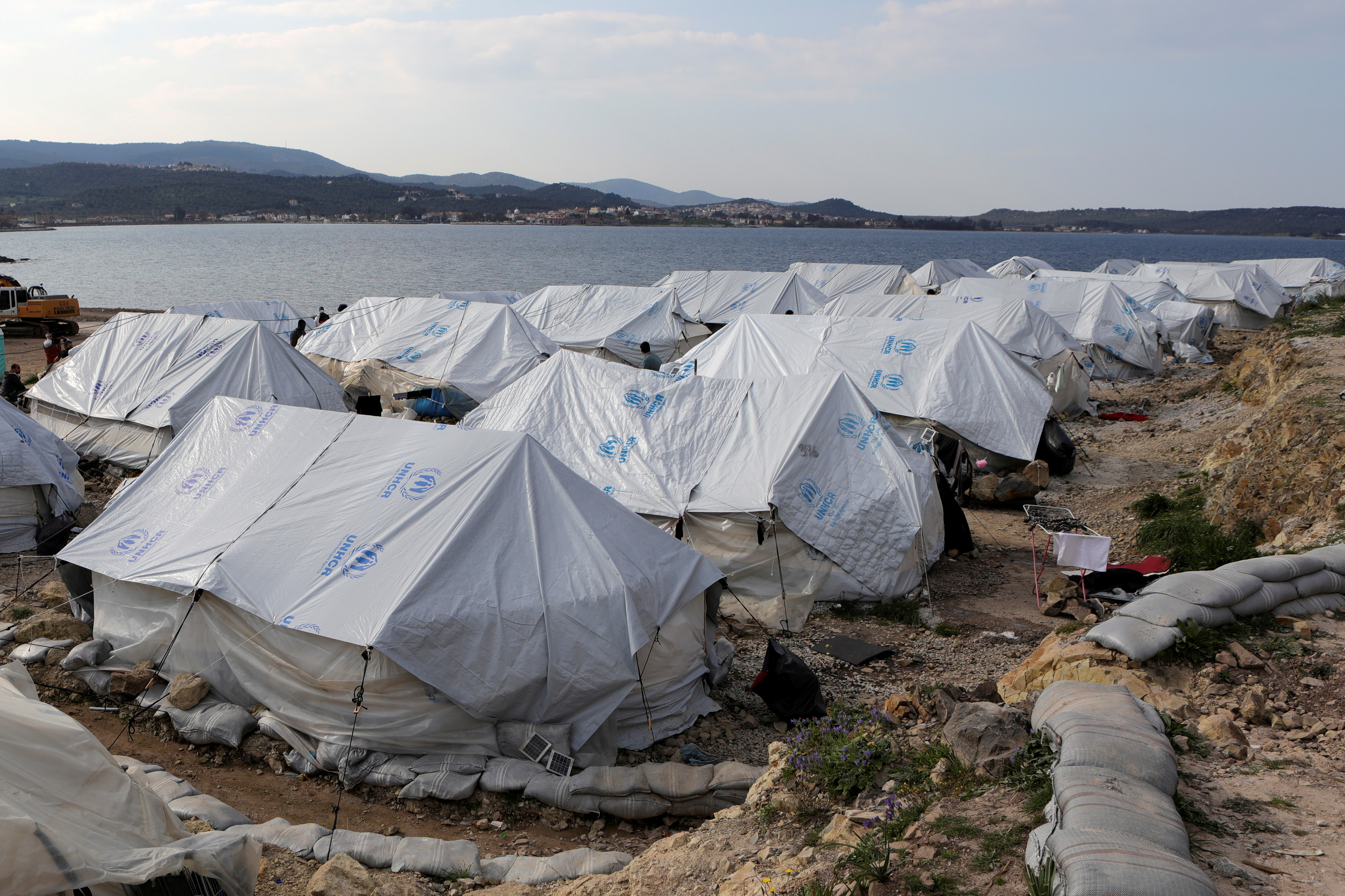 Tents are seen in the Mavrovouni camp for refugees and migrants on the island of Lesbos, Greece, March 29, 2021. REUTERS/Elias Marcou