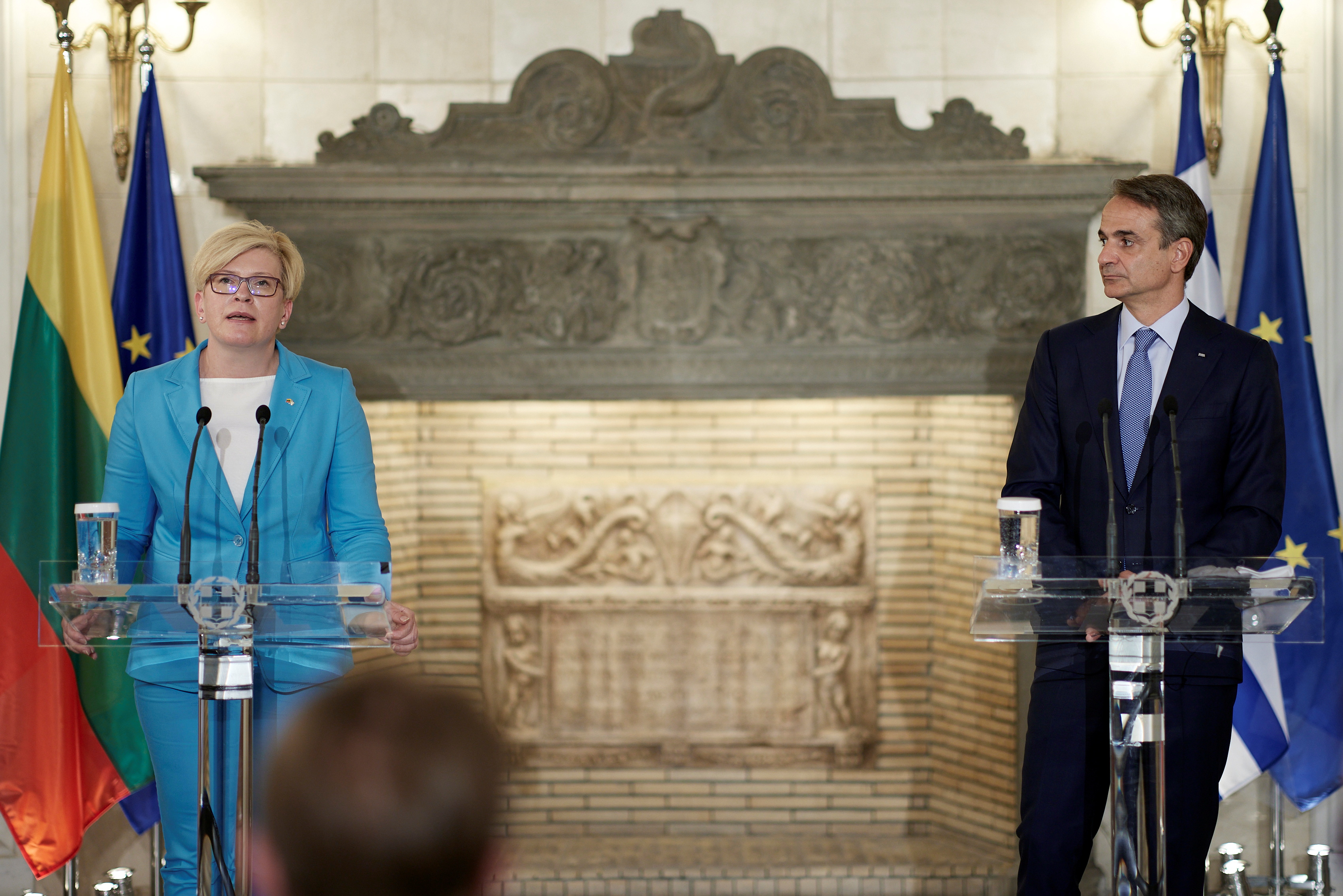 Greek Prime Minister Kyriakos Mitsotakis and his Lithuanian counterpart Ingrida Simonyte attend a news conference following their meeting at the Maximos Mansion in Athens, Greece, July 15, 2021. Dimitris Papamitsos/Greek Prime Minister's Office/Handout via REUTERS