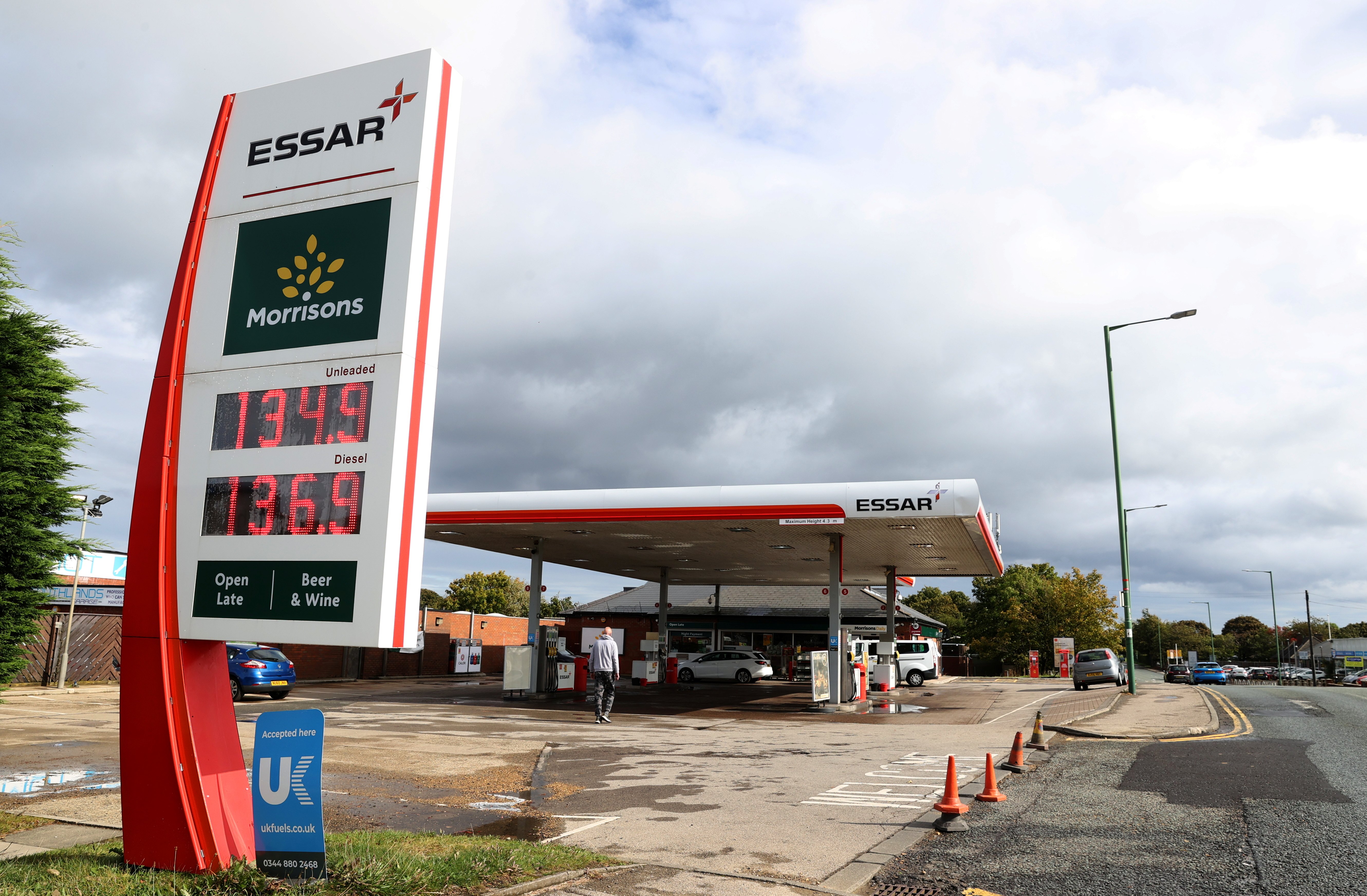 An Essar petrol station forecourt in Stanley, County Durham, Britain, September 27, 2021.  REUTERS/Lee Smith