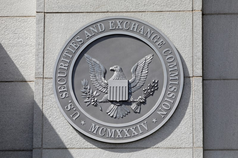 The seal of the U.S. Securities and Exchange Commission (SEC) is seen at their headquarters in Washington, D.C., U.S., May 12, 2021. Picture taken May 12, 2021. REUTERS/Andrew Kelly/File Photo