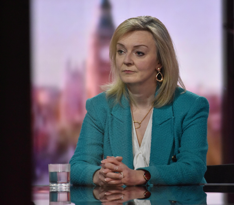 Britain's International Trade Secretary Liz Truss attends BBC TV's The Andrew Marr Show in London, Britain, April 25, 2021. Jeff Overs/BBC/Handout via REUTERS