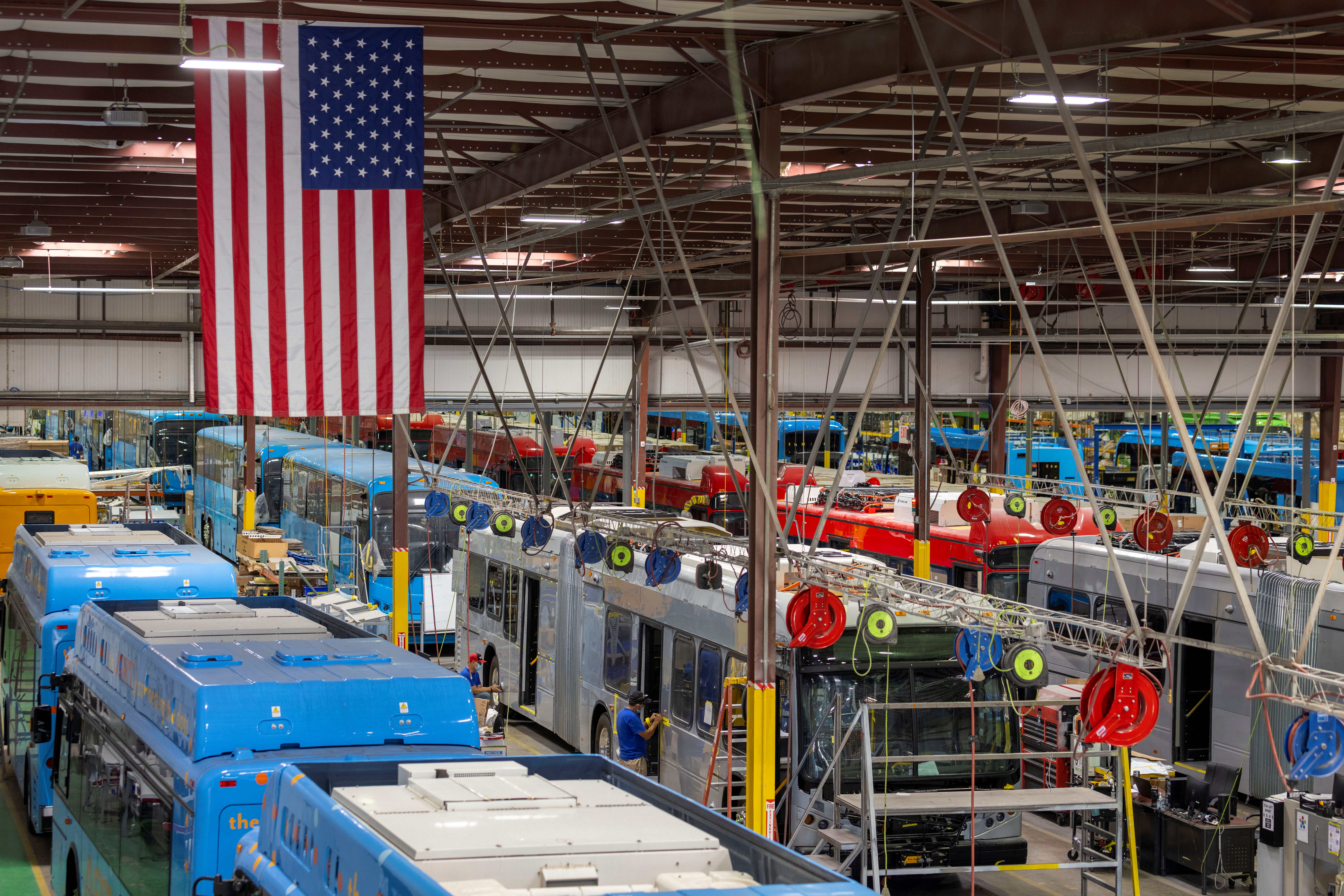 Buses are shown being built at the BYD electric bus factory in Lancaster, California. REUTERS/Mike Blake