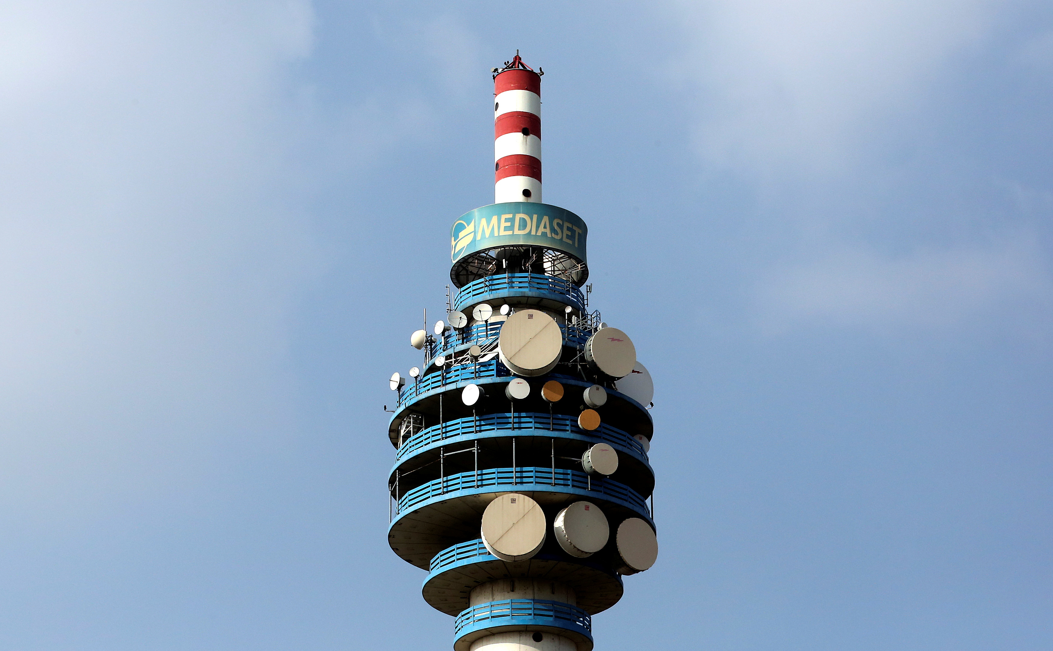 The Mediaset tower is seen in Cologno Monzese neighbourhood Milan, Italy, April 7, 2016.  REUTERS/Stefano Rellandini