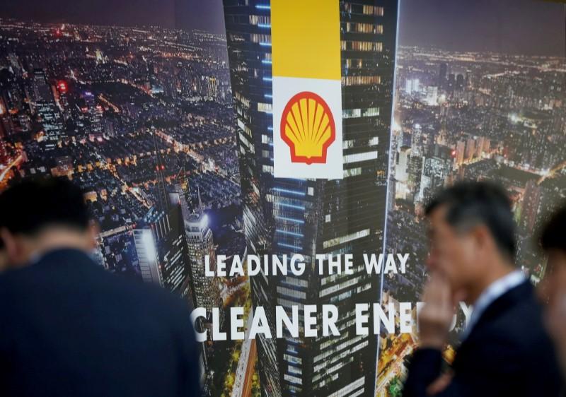 A logo of Royal Dutch Shell is seen at Gastech,, in Chiba, Japan, April 4, 2017. REUTERS/Toru Hanai