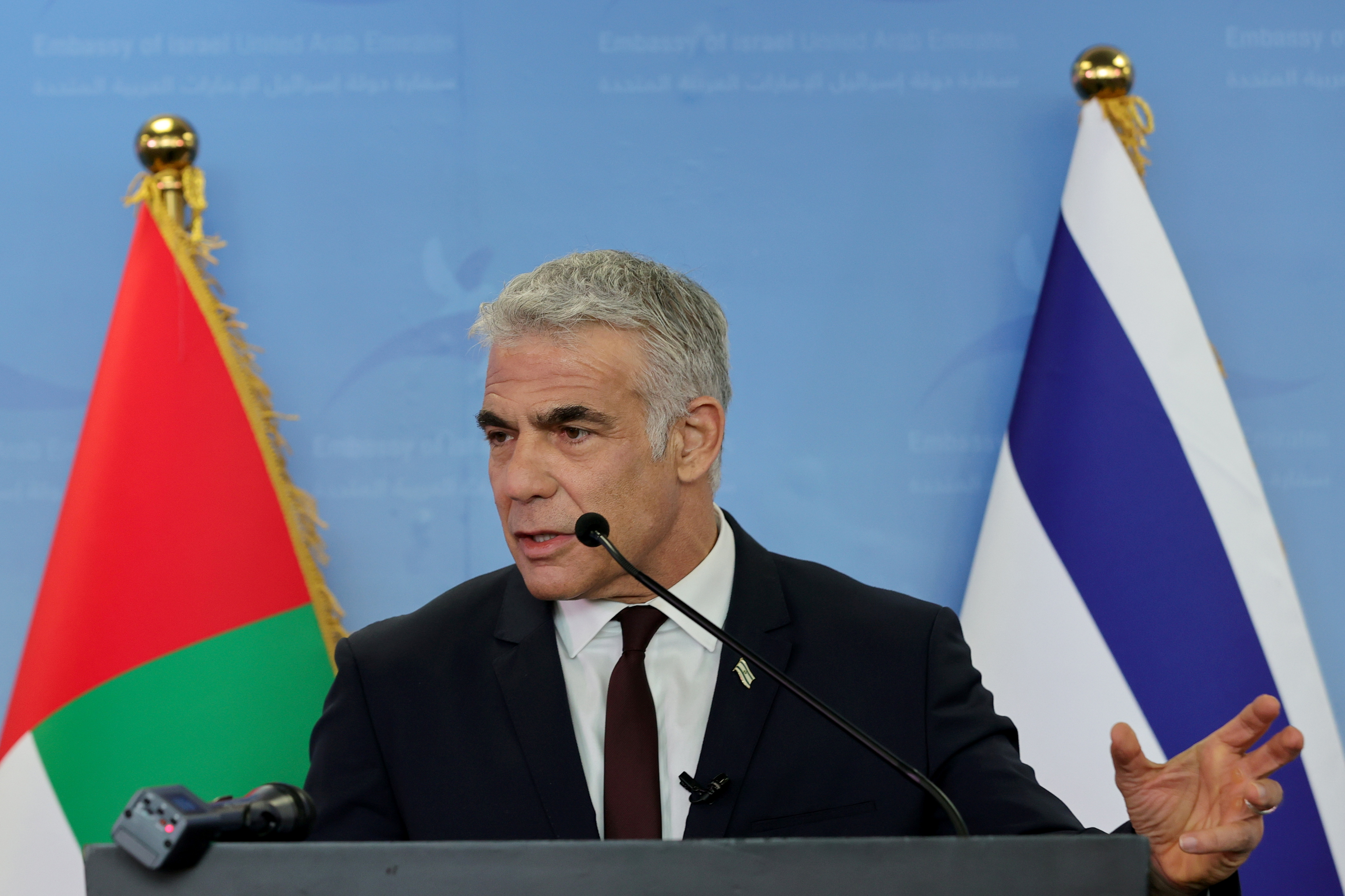 Israeli alternate Prime Minister and Foreign Minister Yair Lapid speaks during a news conference in Dubai, United Arab Emirates, June 30, 2021. REUTERS/Christopher Pike