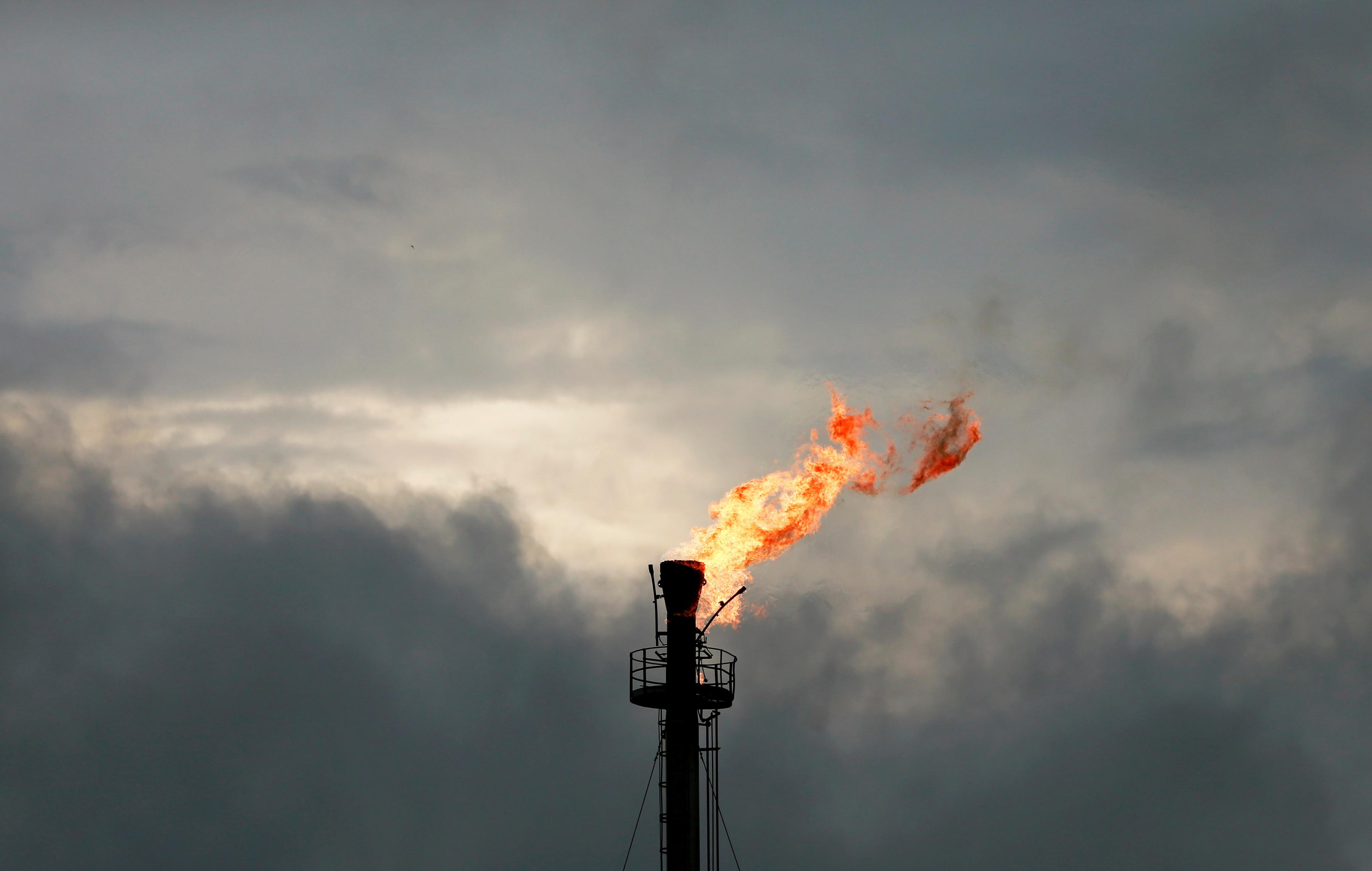A vertical gas flaring furnace is seen in Ughelli, Delta State, Nigeria September 16, 2020. Picture taken September 16, 2020. REUTERS/Afolabi Sotunde