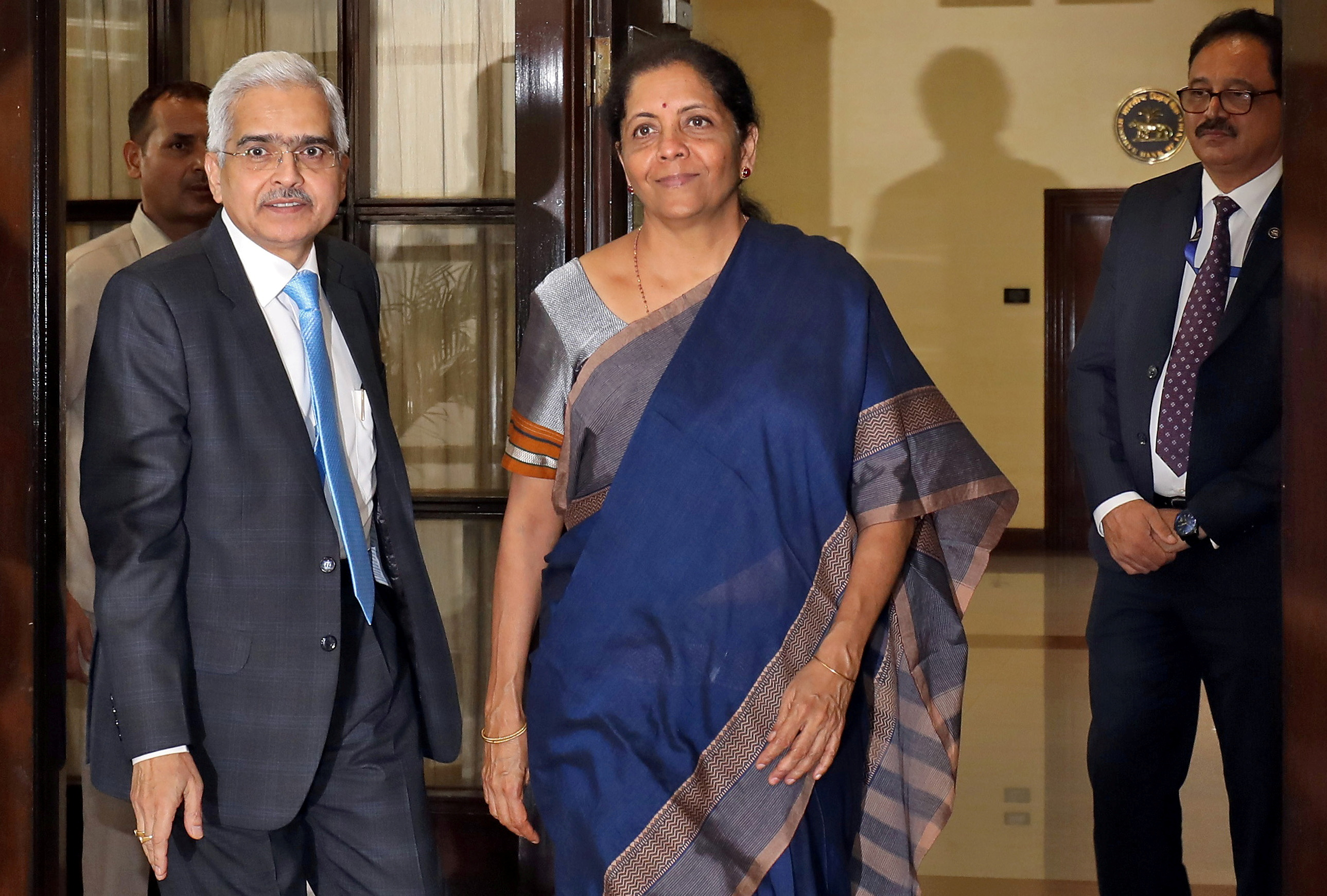 India's Finance Minister Nirmala Sitharaman and the Reserve Bank of India (RBI) Governor Shaktikanta Das arrive to attend the RBI's central board meeting in New Delhi, India July 8, 2019. REUTERS/Anushree Fadnavis
