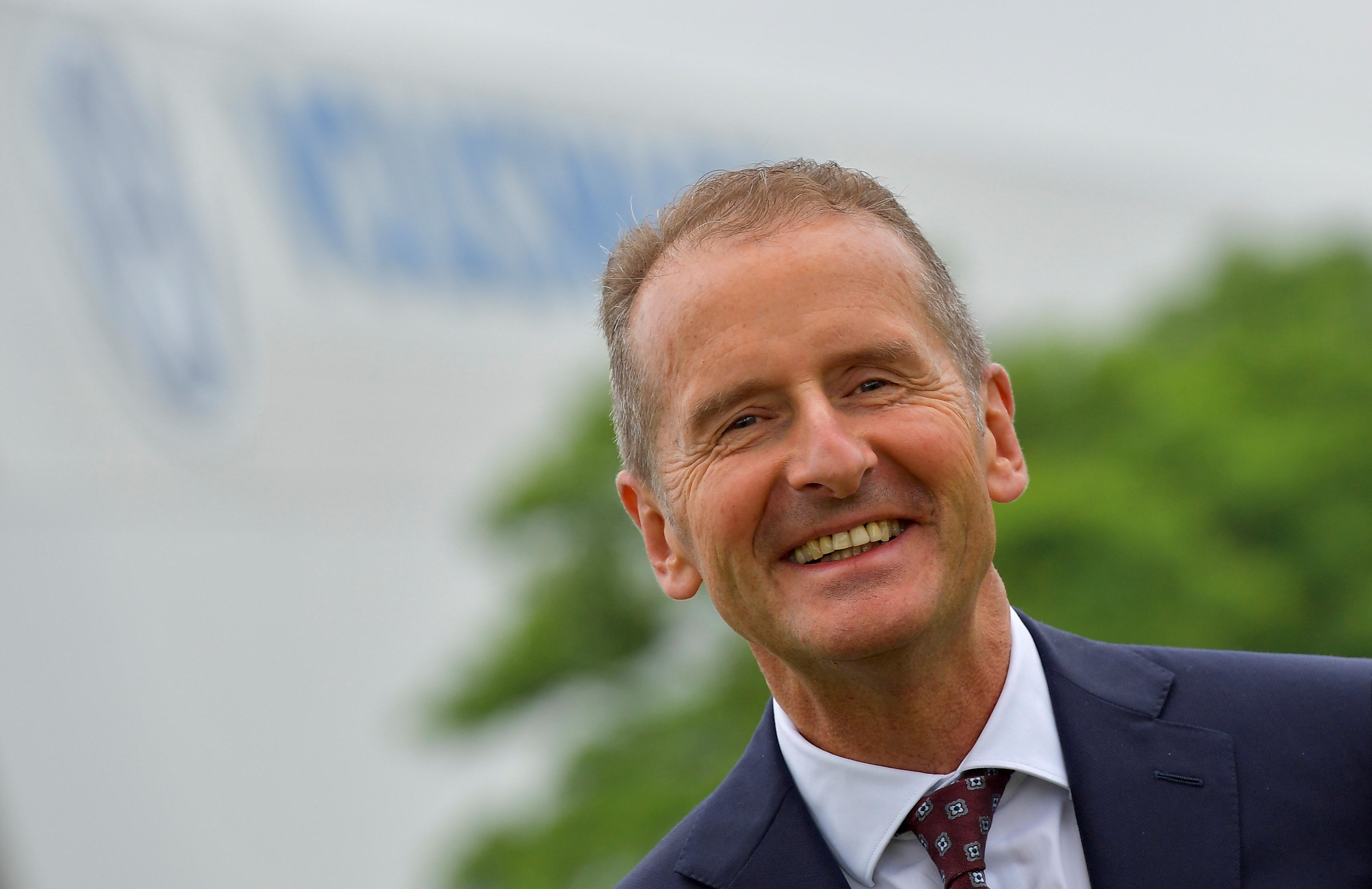 Volkswagen CEO Herbert Diess looks on during his visit to Volkswagen's electric car plant in Zwickau, Germany, June 23, 2021. REUTERS/Matthias Rietschel