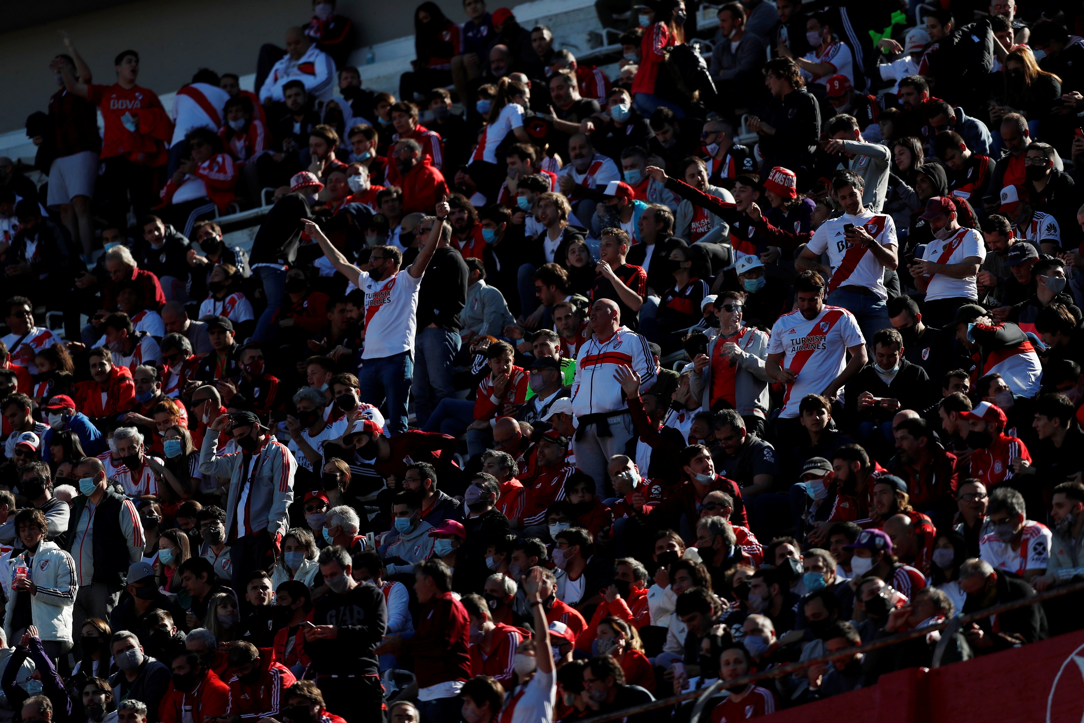 Soccer Football - Primera Division - River Plate v Boca Juniors - Estadio Monumental, Buenos Aires, Argentina - October 3, 2021  River Plate fans inside the stadium before the match REUTERS/Agustin Marcarian