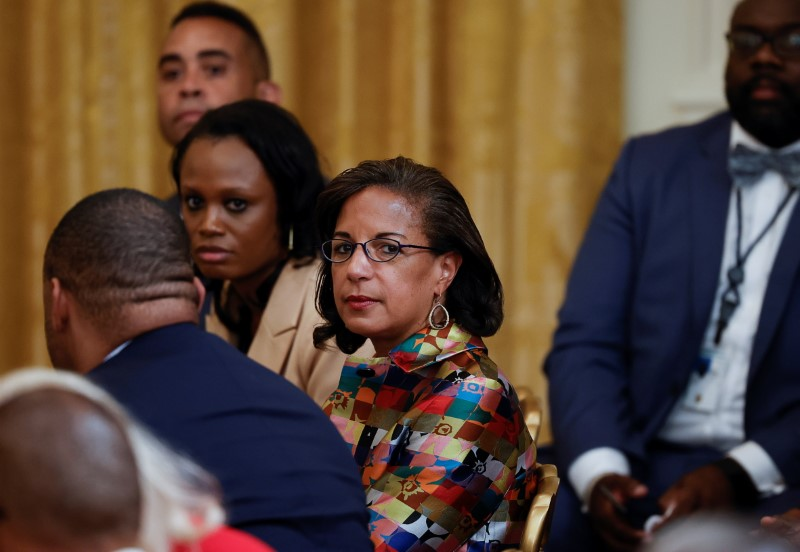 White House domestic policy director Susan Rice arrives prior to U.S. President Joe Biden signing the Juneteenth National Independence Day Act into law during a ceremony in the East Room of the White House in Washington, U.S., June 17, 2021. REUTERS/Carlos Barria