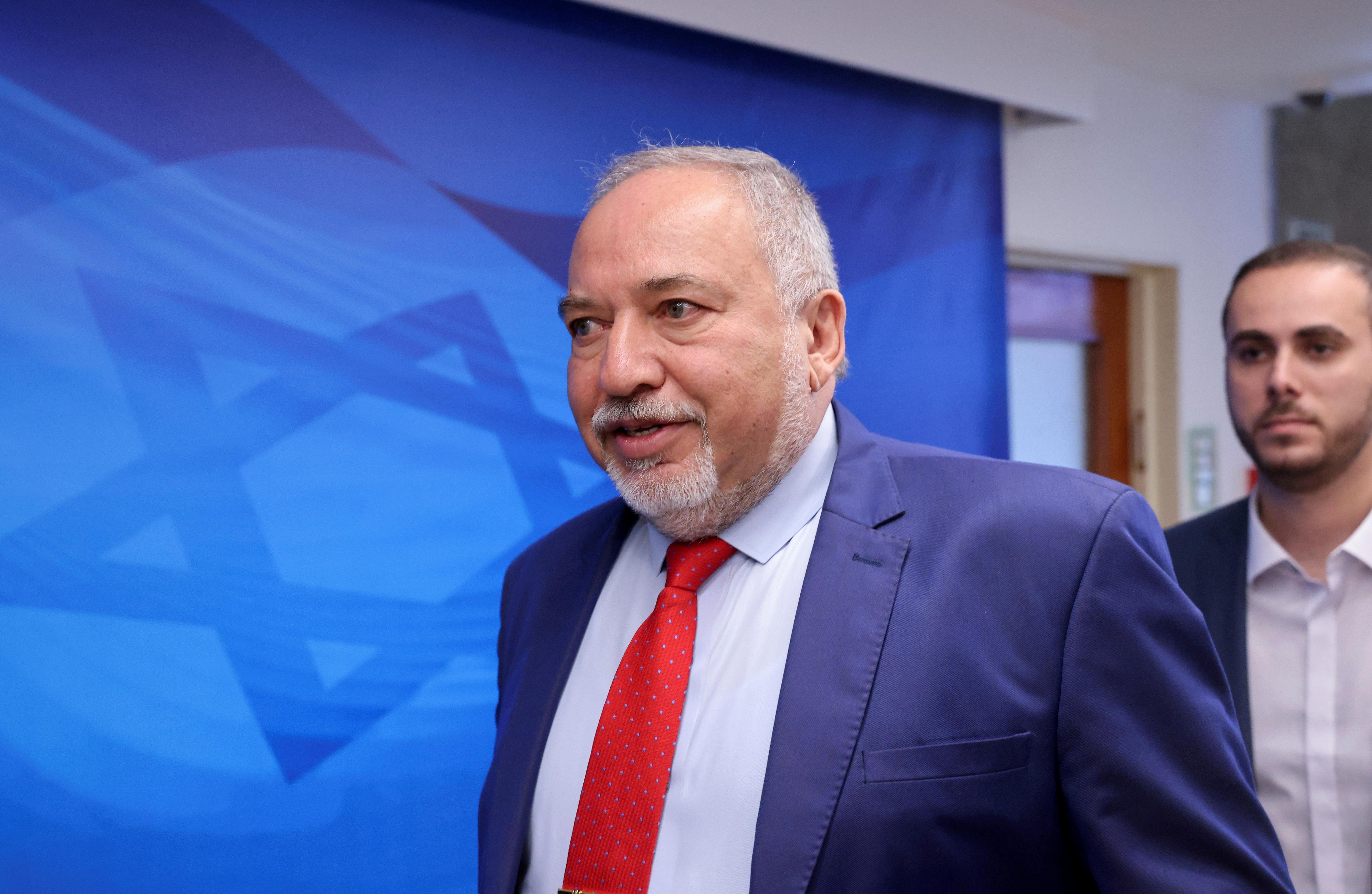 Israeli Finance Minister Avigdor Lieberman arrives for a cabinet meeting in Jerusalem, June 20, 2021. Emmanuel Dunand/Pool via REUTERS/File Photo