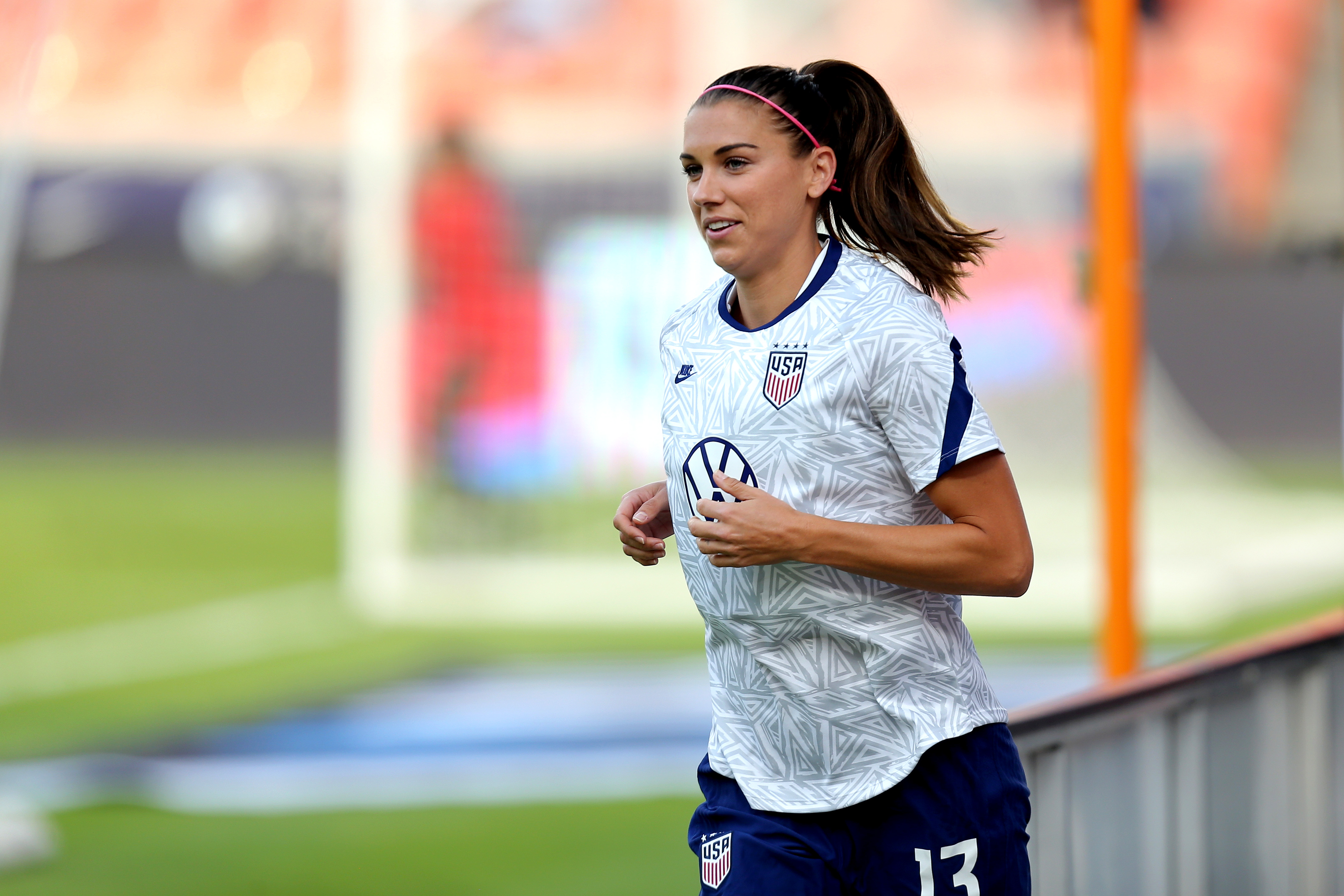 Jun 10, 2021; Houston, Texas, USA; United States forward Alex Morgan (13) takes the field for warmups prior to the match against Portugal during a WNT Summer Series international friendly soccer match at BBVA Stadium. Mandatory Credit: Erik Williams-USA TODAY Sports