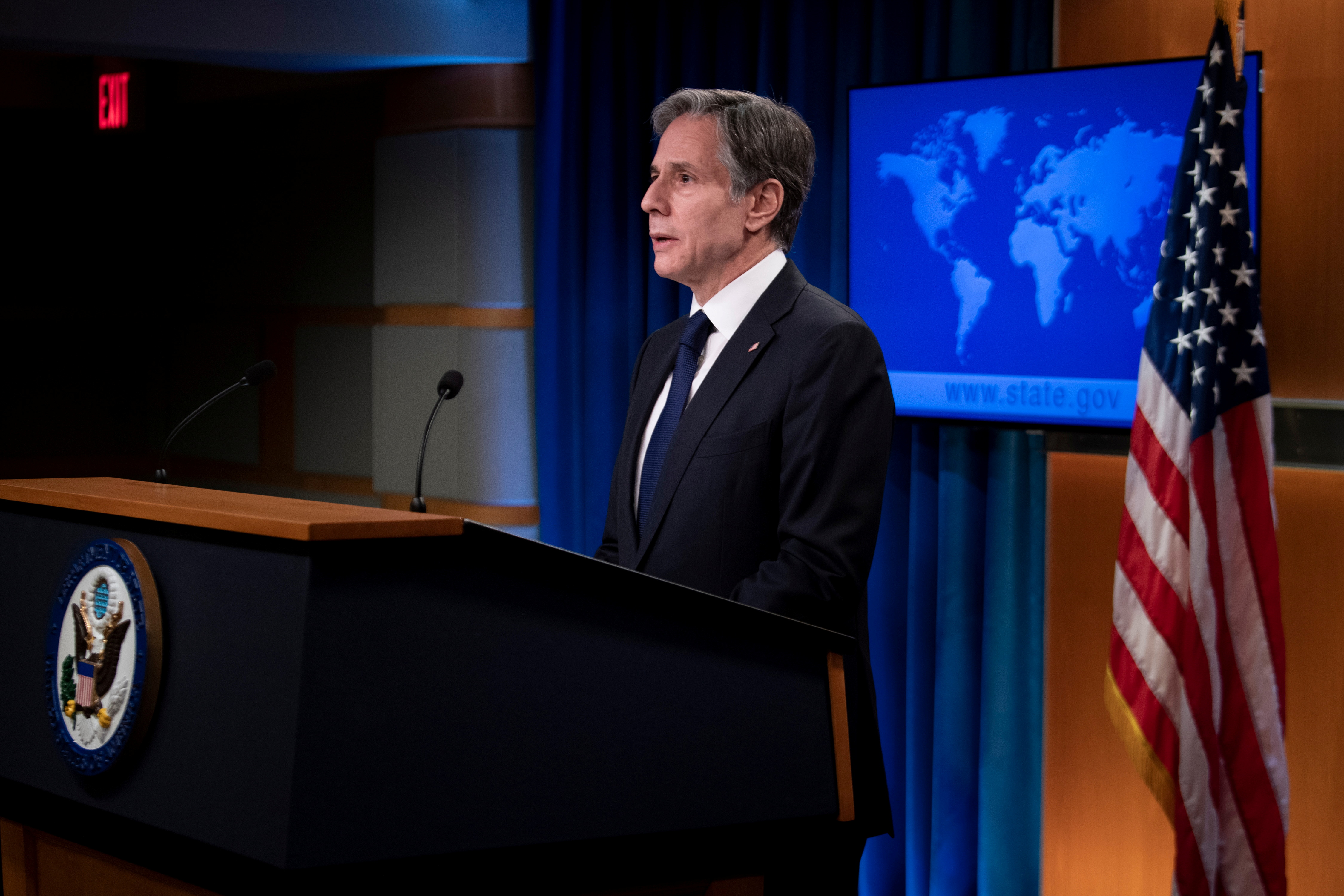 U.S. Secretary of State Antony Blinken speaks about refugee programs for Afghans who aided the U.S. during a briefing at the State Department in Washington, DC, U.S. August 2, 2021. Brendan Smialowski/Pool via REUTERS/File Photo