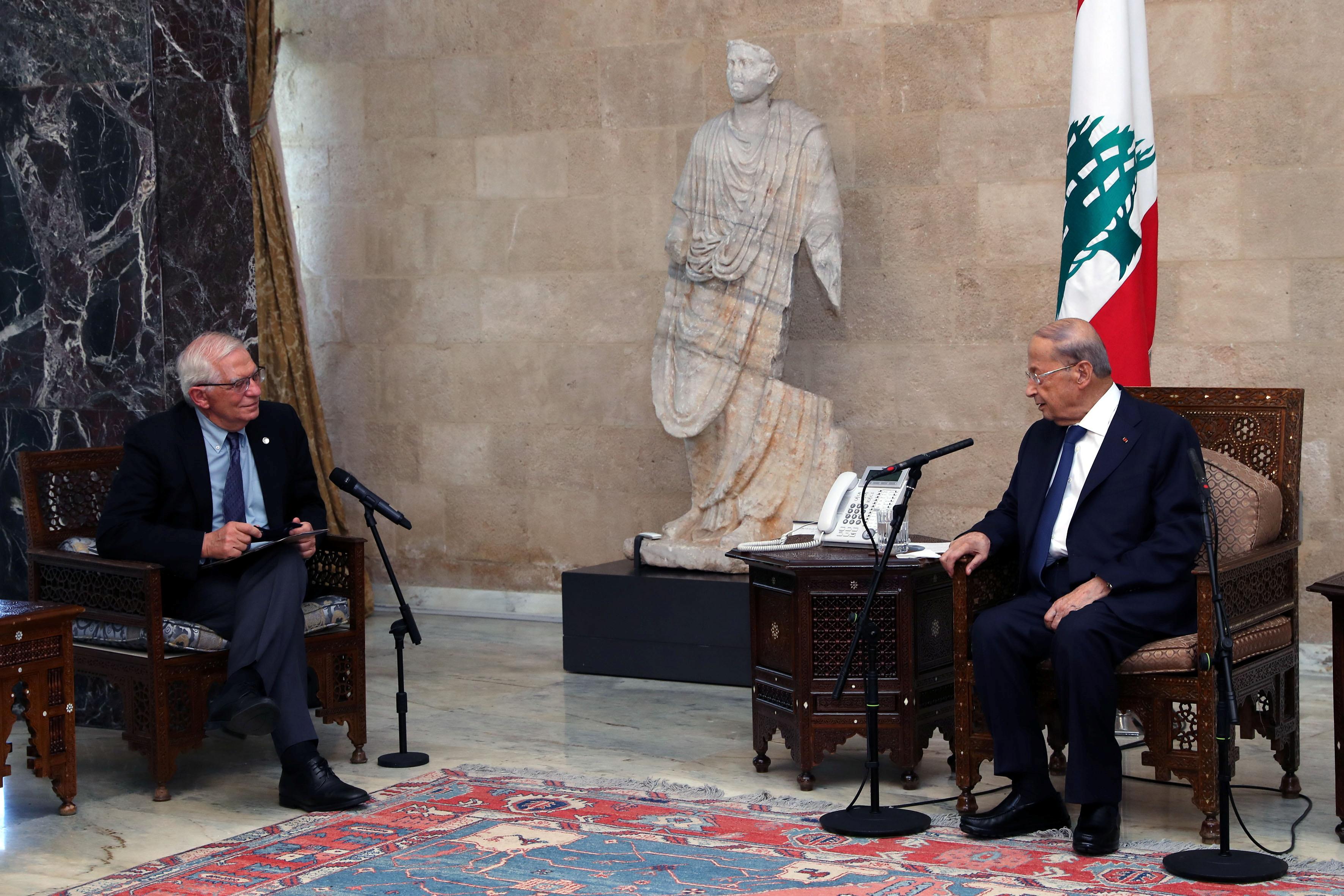 European Union foreign policy chief Josep Borrell meets with Lebanon's President Michel Aoun at the presidential palace in Baabda, Lebanon June 19, 2021. Dalati Nohra/Handout via REUTERS