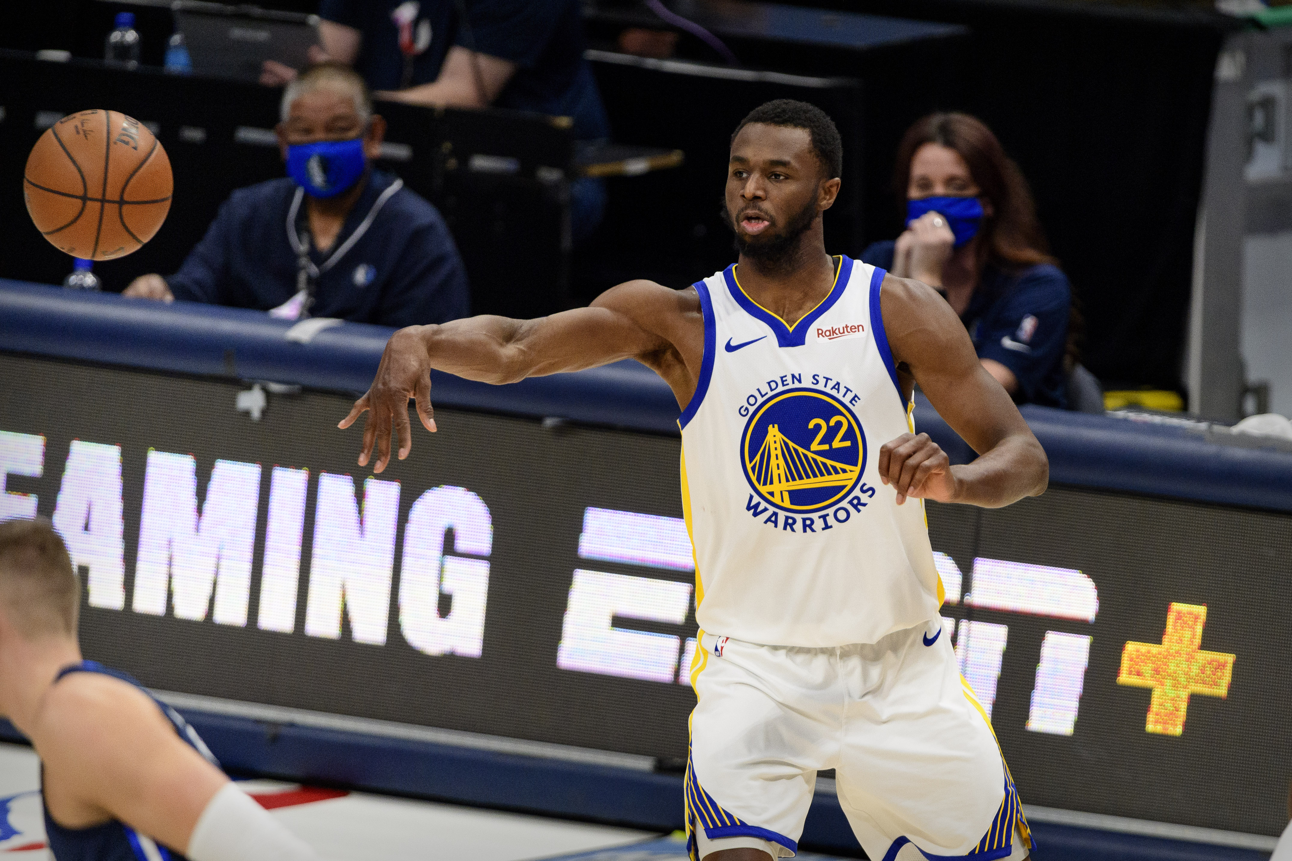 Feb 6, 2021; Dallas, Texas, USA; Golden State Warriors forward Andrew Wiggins (22) in action during the game between the Dallas Mavericks and the Golden State Warriors at the American Airlines Center. Mandatory Credit: Jerome Miron-USA TODAY Sports