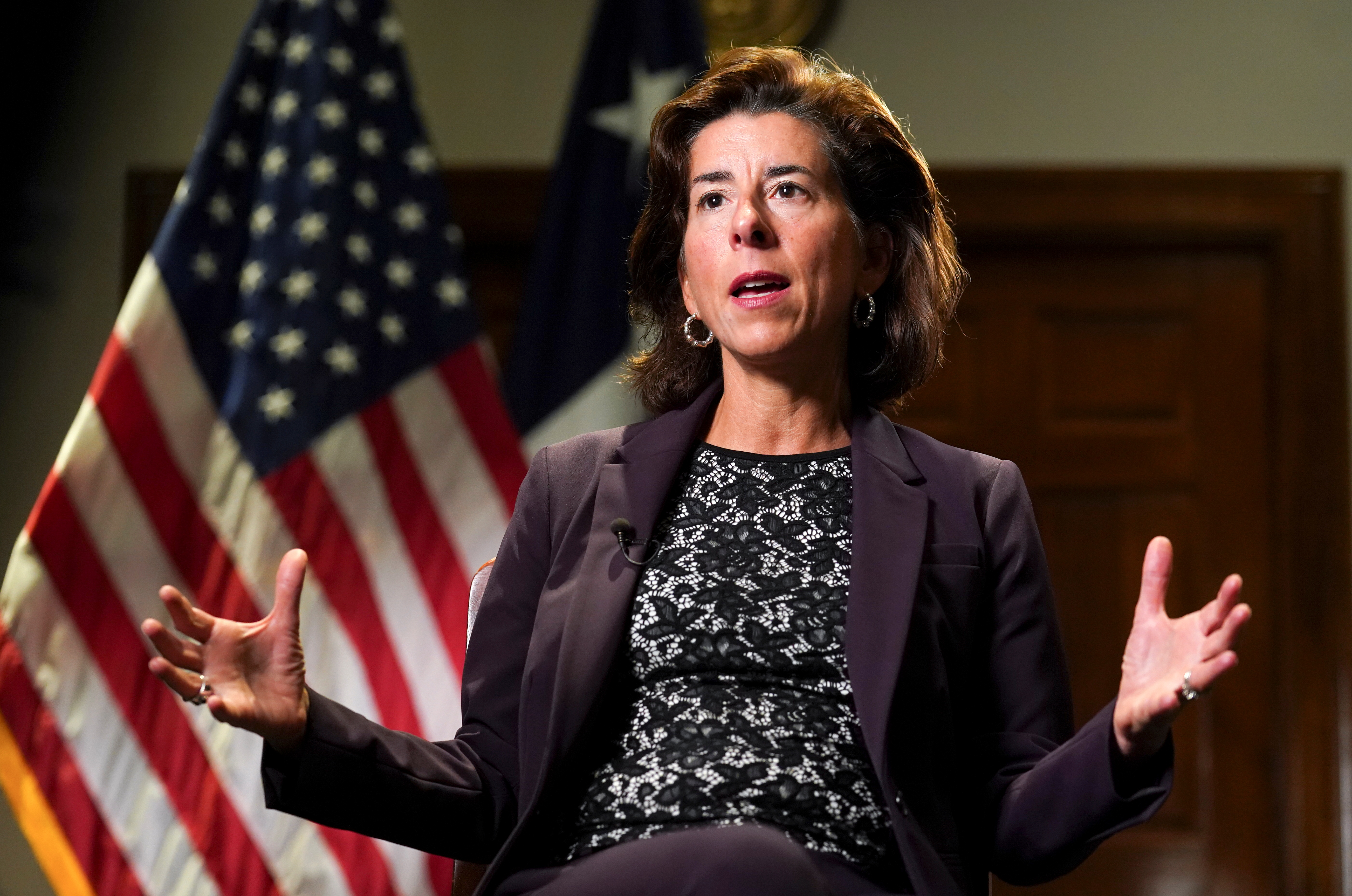 U.S. Commerce Secretary Gina Raimondo speaks during a Reuters interview at the Department of Commerce in Washington U.S., September 23, 2021. REUTERS/Kevin Lamarque
