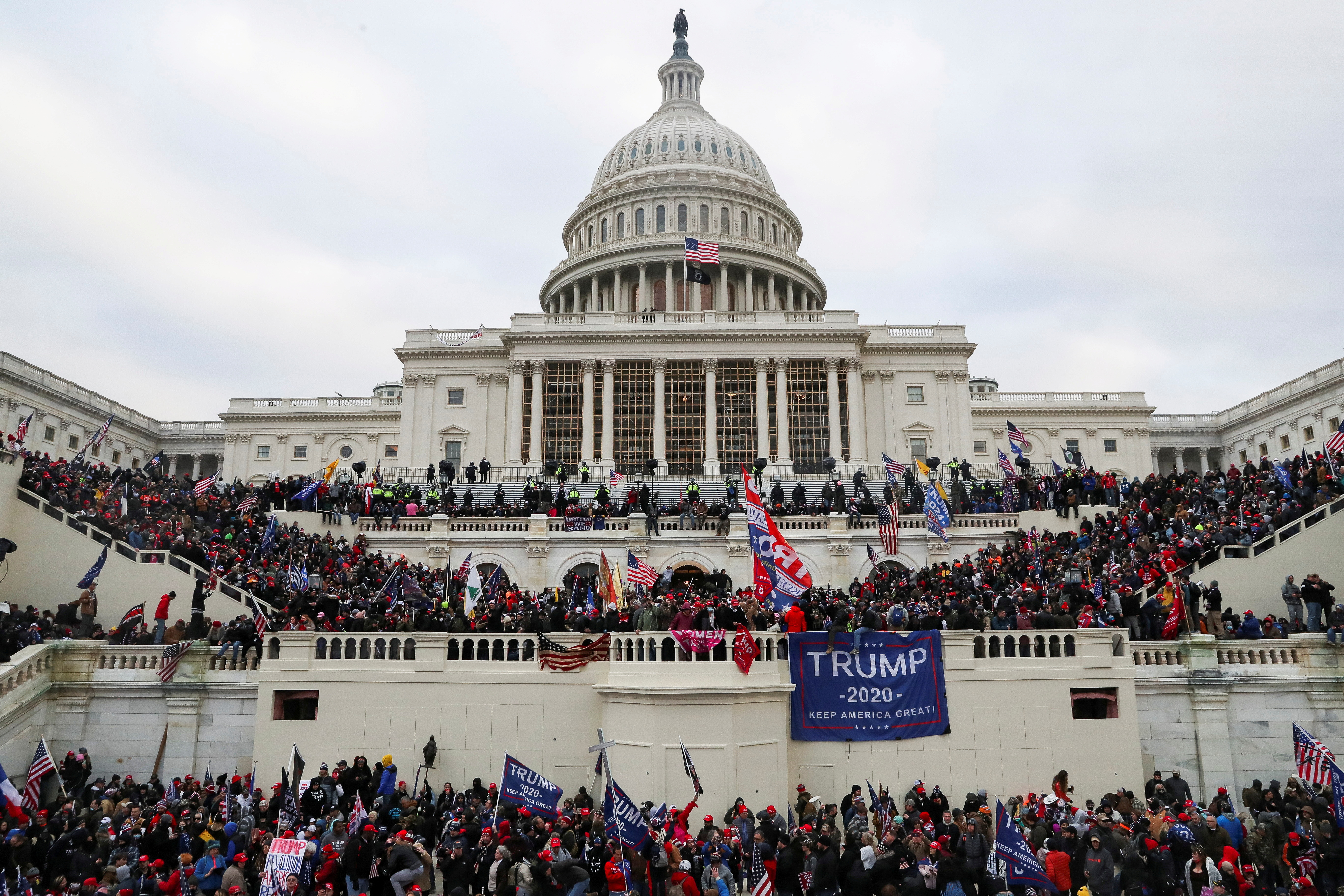 Supporters of U.S. President Donald Trump gather in front of the U.S. Capitol Building in Washington, U.S., January 6, 2021. REUTERS/Leah Millis/File Photo